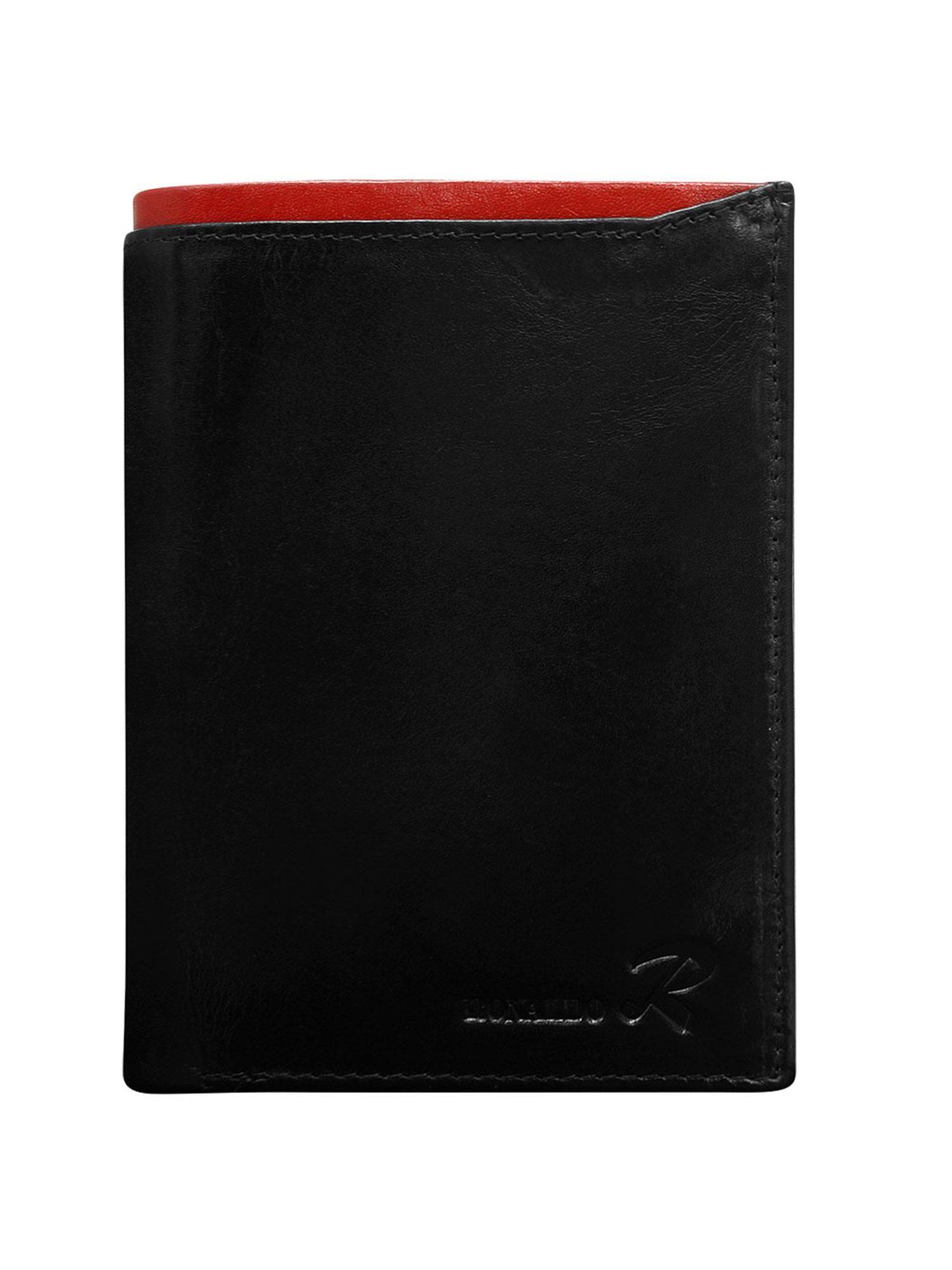 2135d0bbf320f Czarny portfel skórzany męski z czerwonym wykończeniem - Mężczyźni portfel  męski - sklep eButik.pl