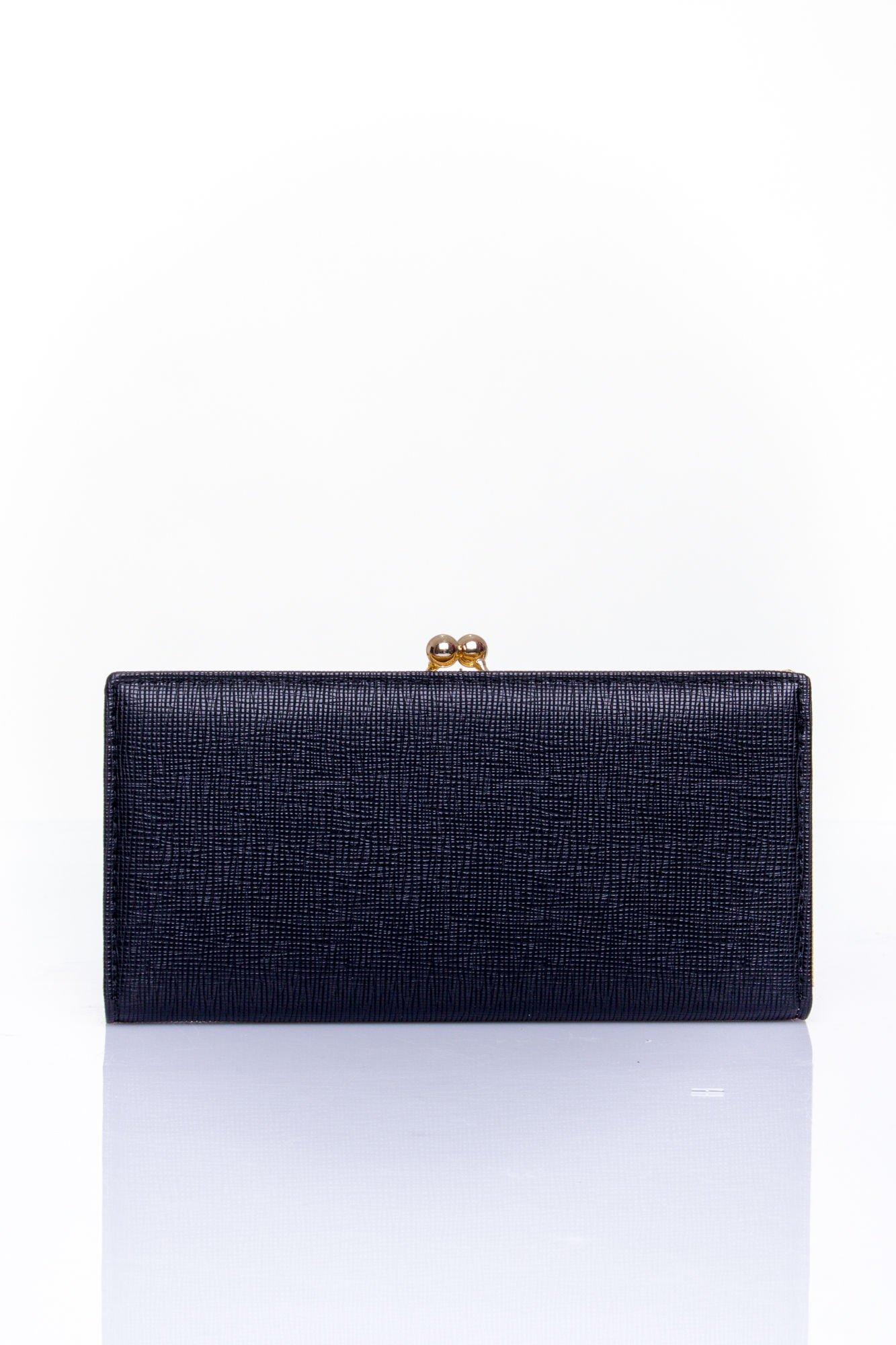 Czarny portfel z biglem efekt saffiano                                   zdj.                                  1