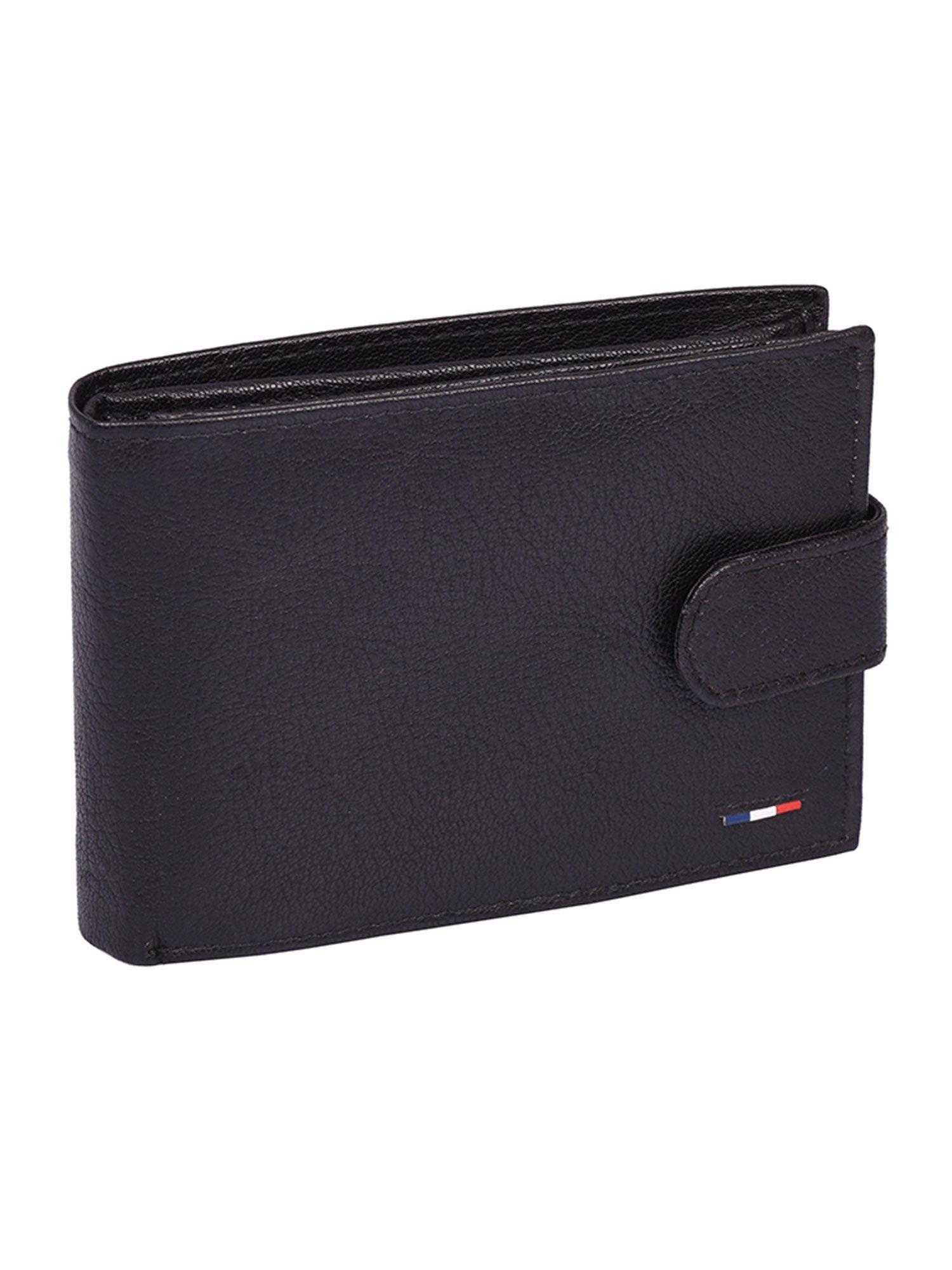 94a0c36d0fb97 Czarny poziomy portfel skórzany dla mężczyzny zapinany - Mężczyźni ...