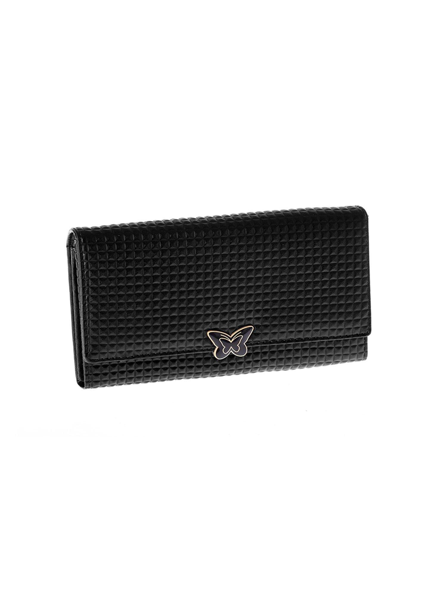 e24ce2d74b77f Czarny skórzany portfel damski z ozdobnym zapięciem - Akcesoria portfele -  sklep eButik.pl