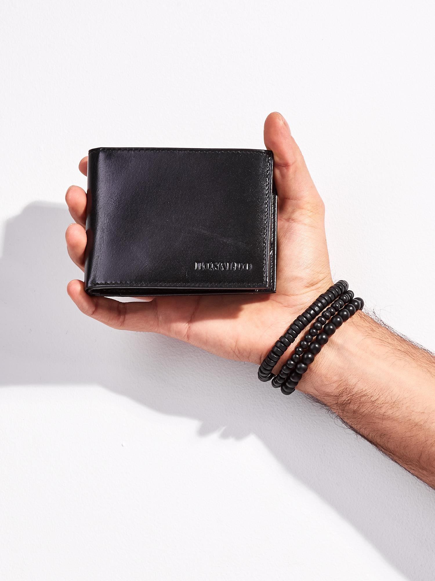 252360575b07c Czarny skórzany portfel męski otwarty - Mężczyźni portfel męski ...