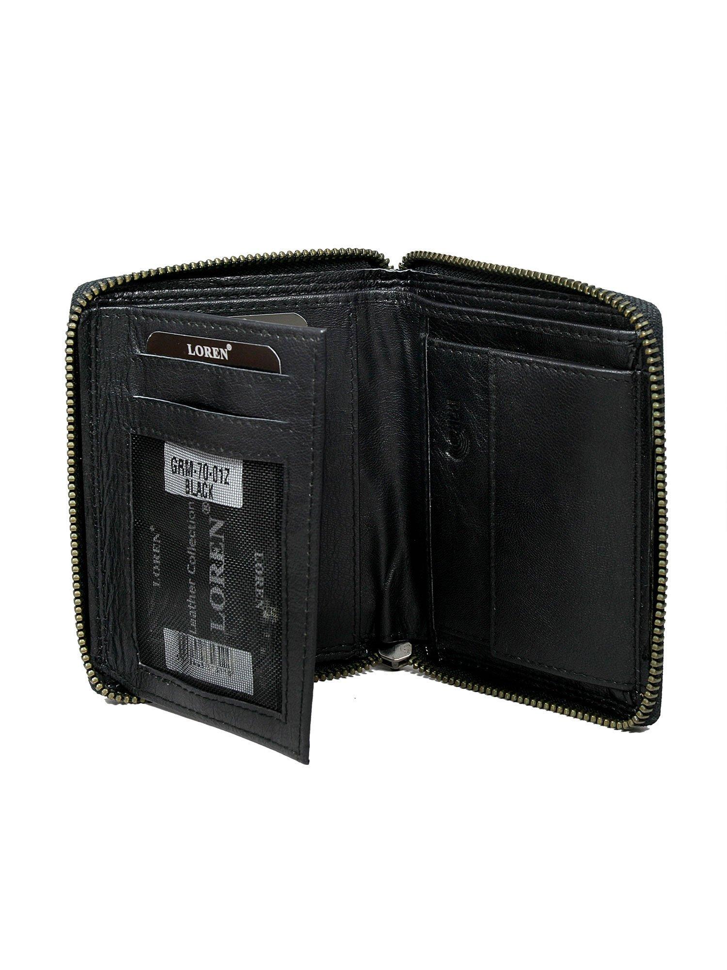 4d1b0d9b782db Czarny skórzany portfel męski zapinany na suwak - Mężczyźni portfel męski -  sklep eButik.pl