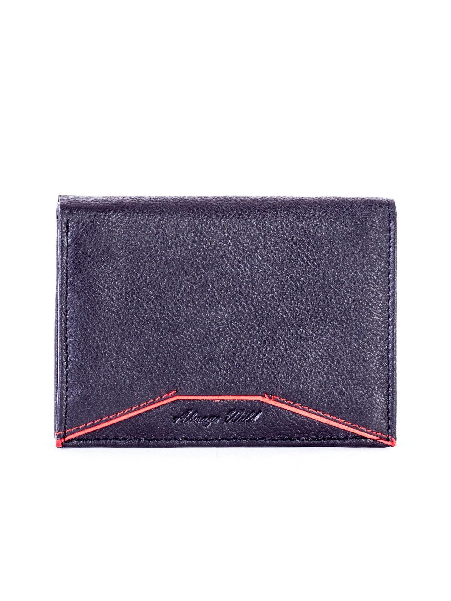 c3f6ee7e3fde4 Czarny skórzany portfel z czerwonym wykończeniem - Mężczyźni portfel ...