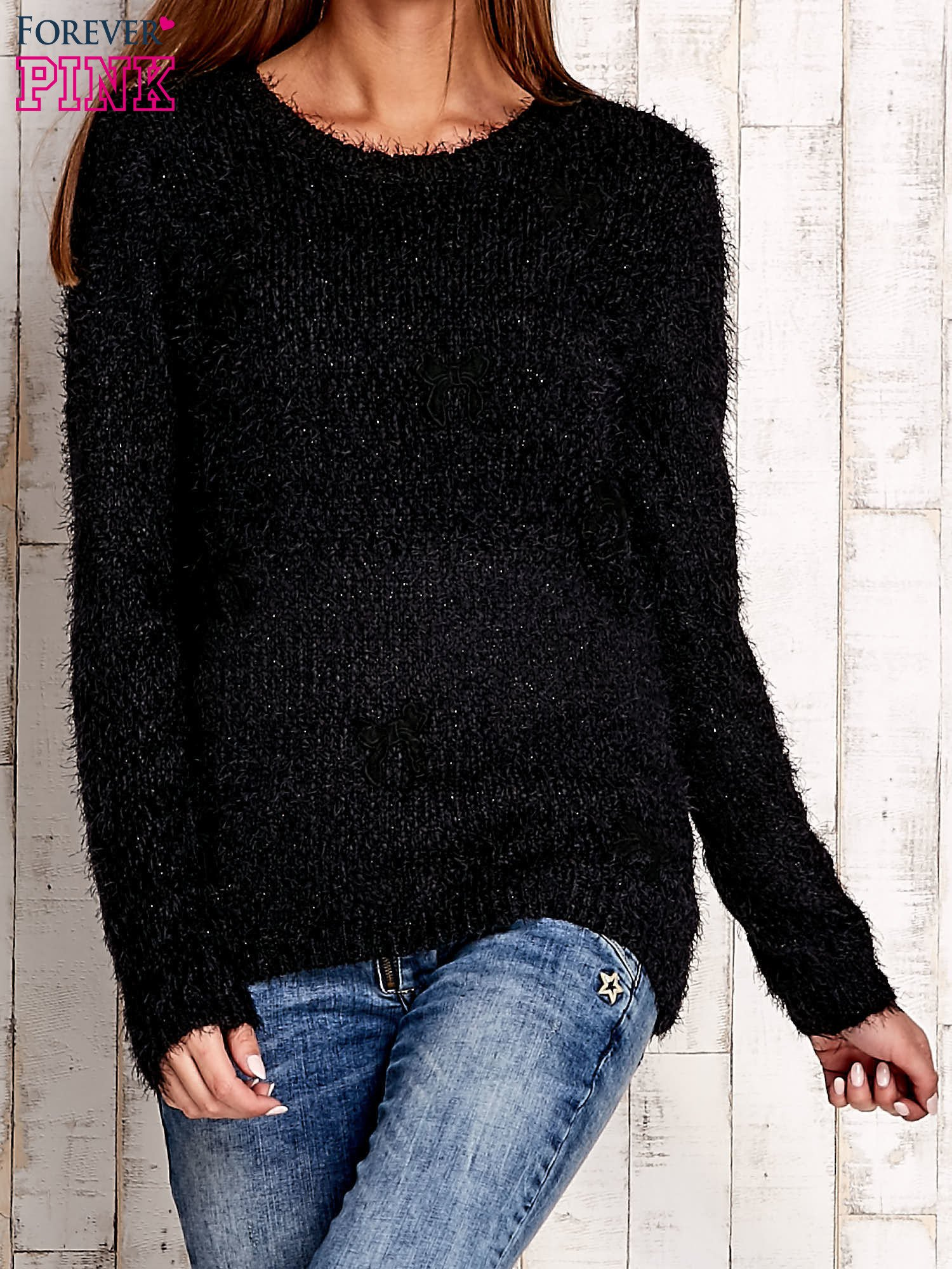 Czarny sweter long hair z kokardkami                                  zdj.                                  1