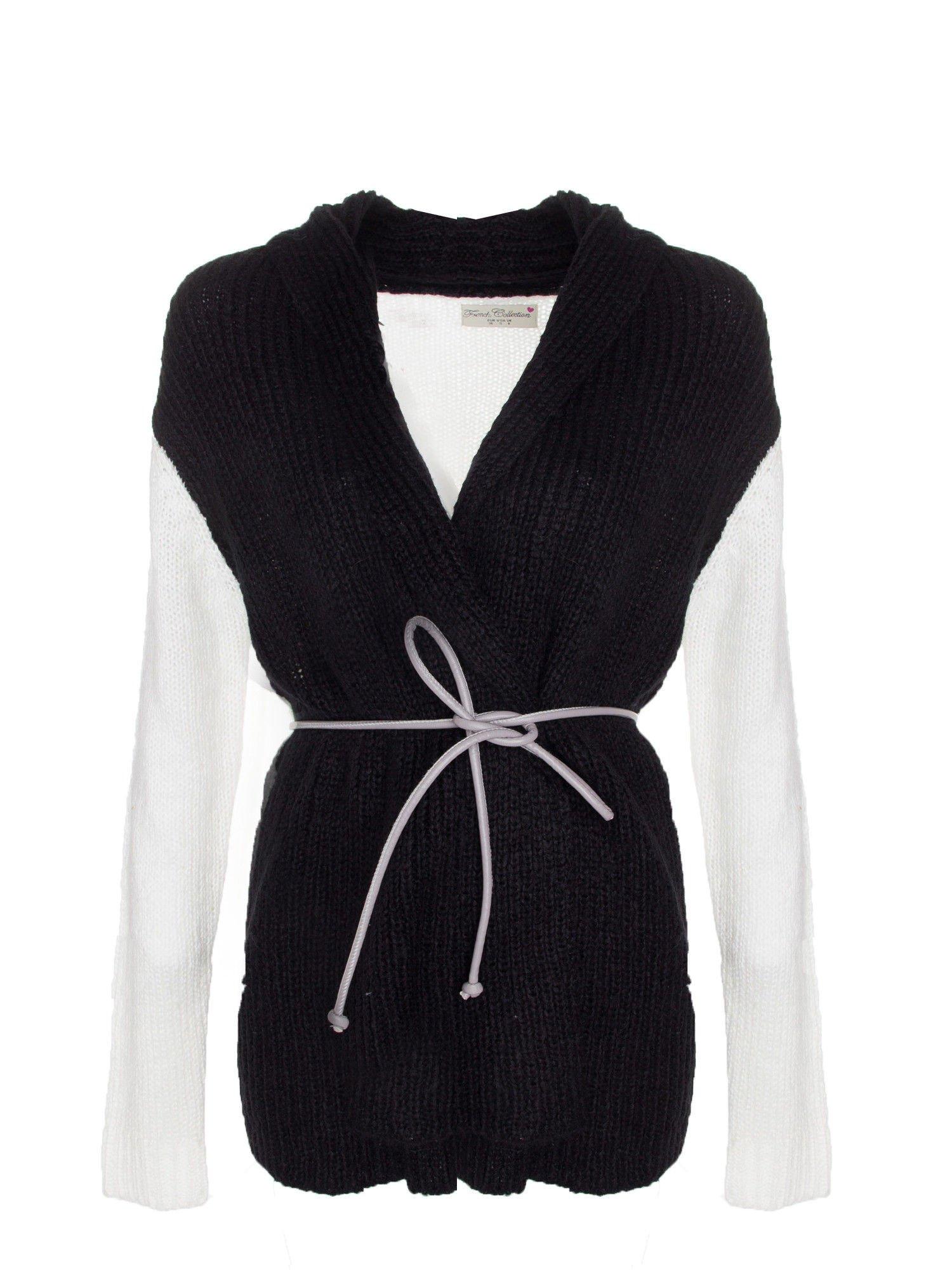 Czarny sweter z kontrastowymi rękawami i paskiem                                  zdj.                                  7