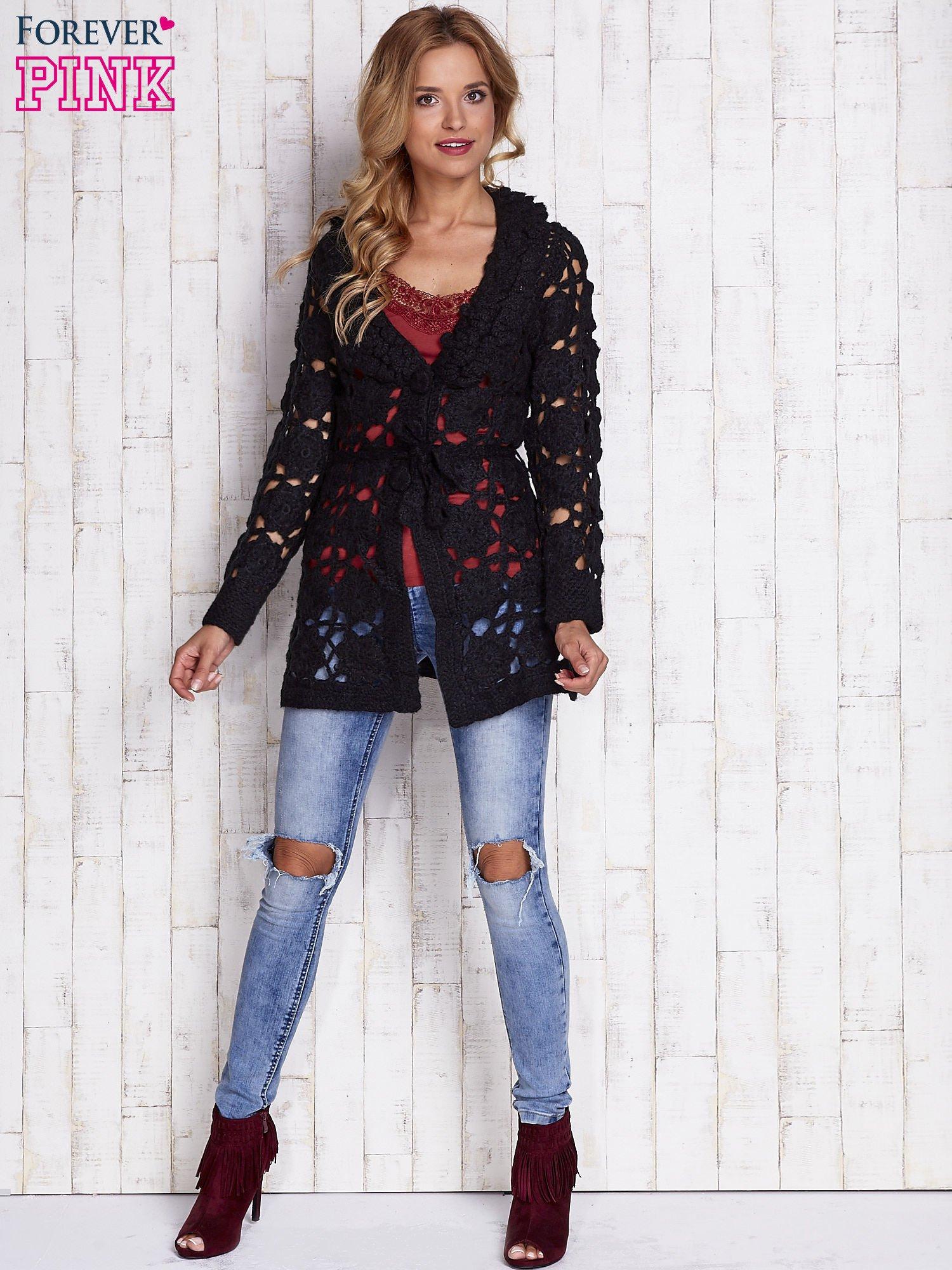 Czarny sweter  z wiązaniem w pasie                                  zdj.                                  5