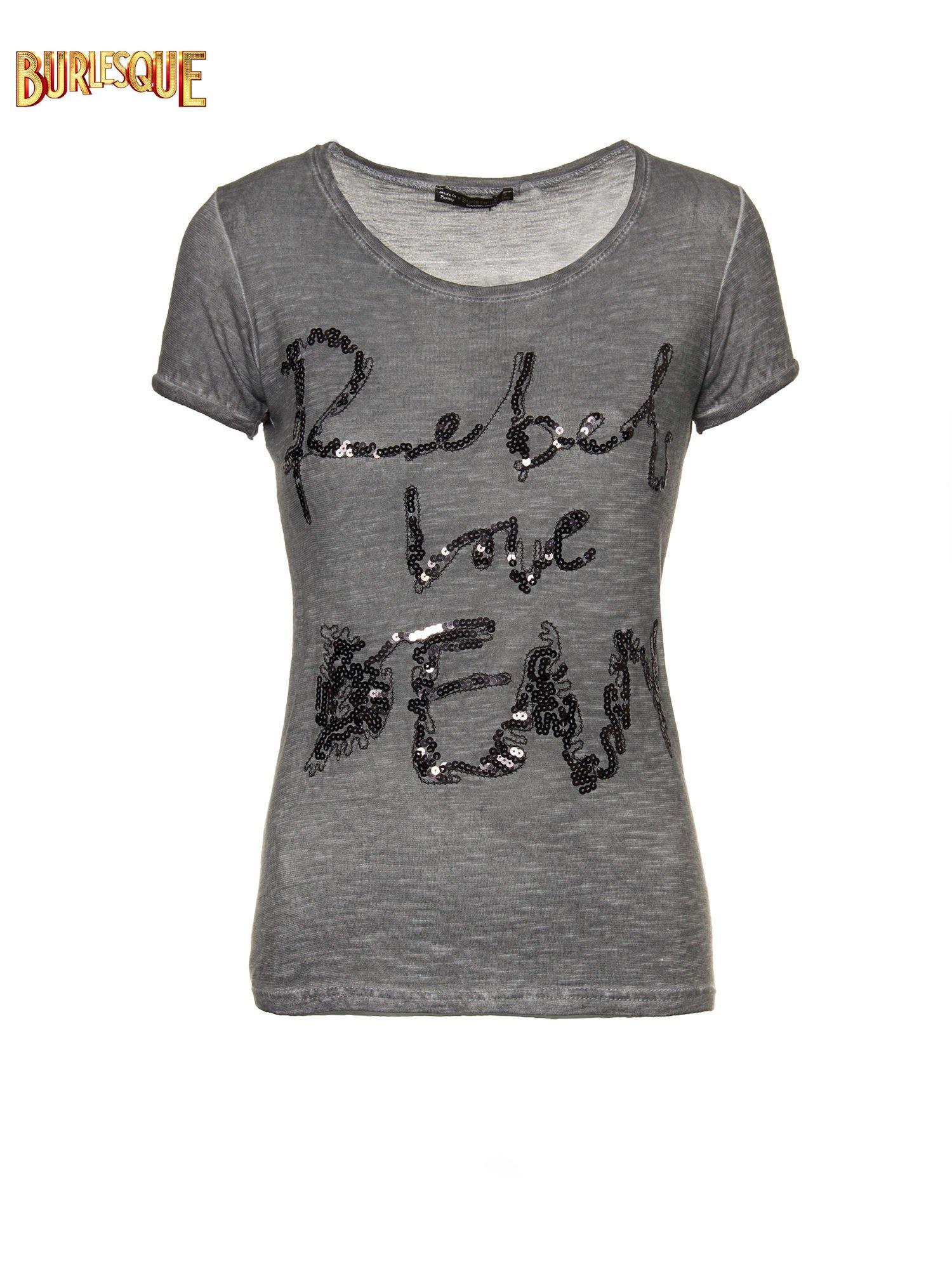 Czarny t-shirt z cekinowym napisem REBEL LOVE                                  zdj.                                  1
