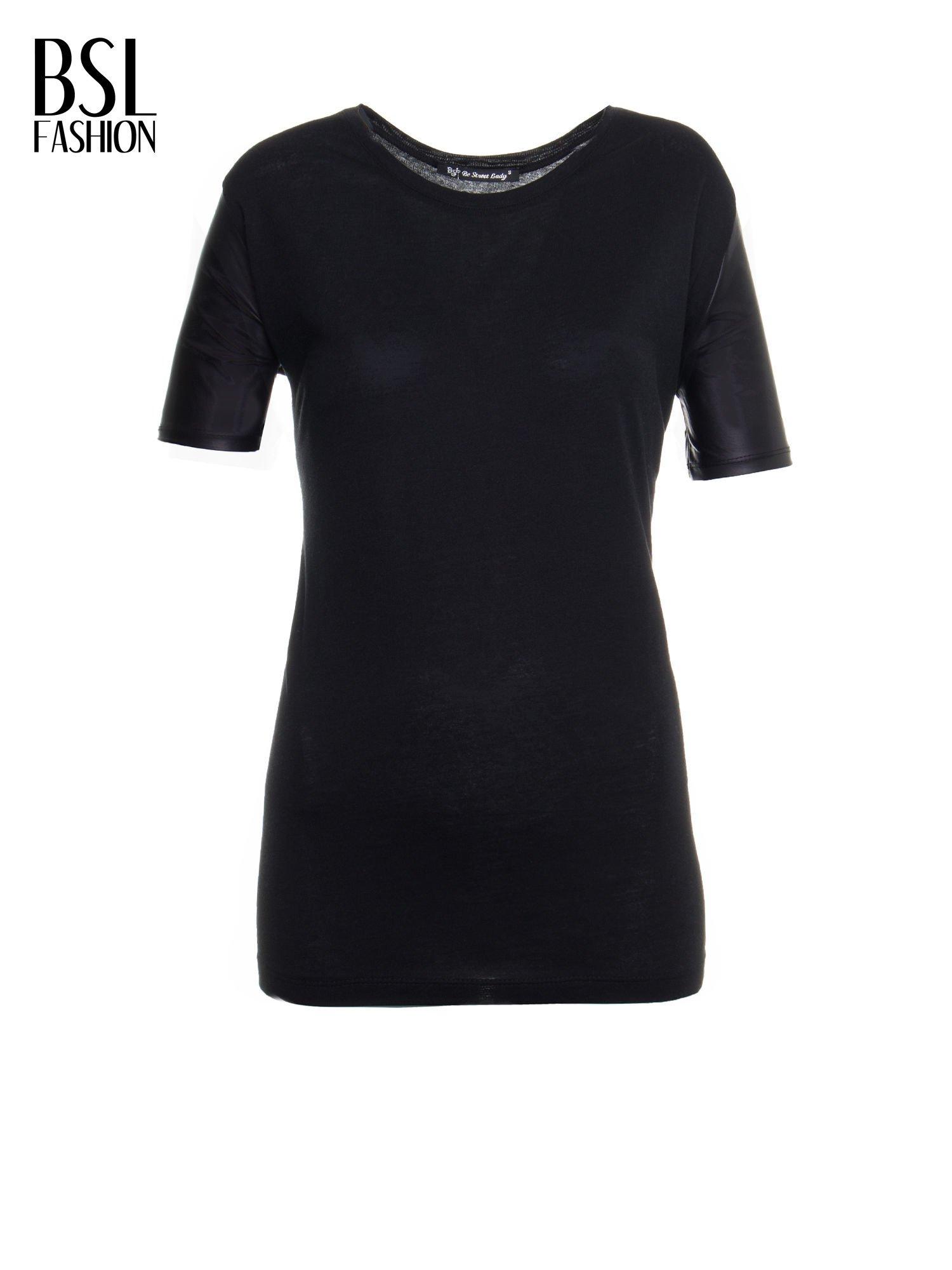 Czarny t-shirt z czarnymi skórzanymi rękawami                                  zdj.                                  2