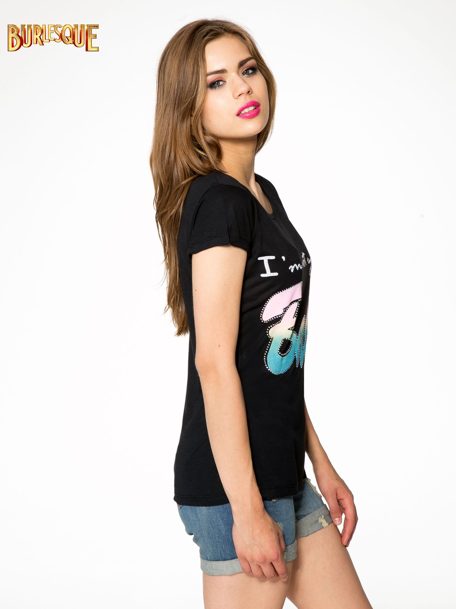 Czarny t-shirt z kolorowym nadrukiem I'M NOT YOUR BABE                                  zdj.                                  3