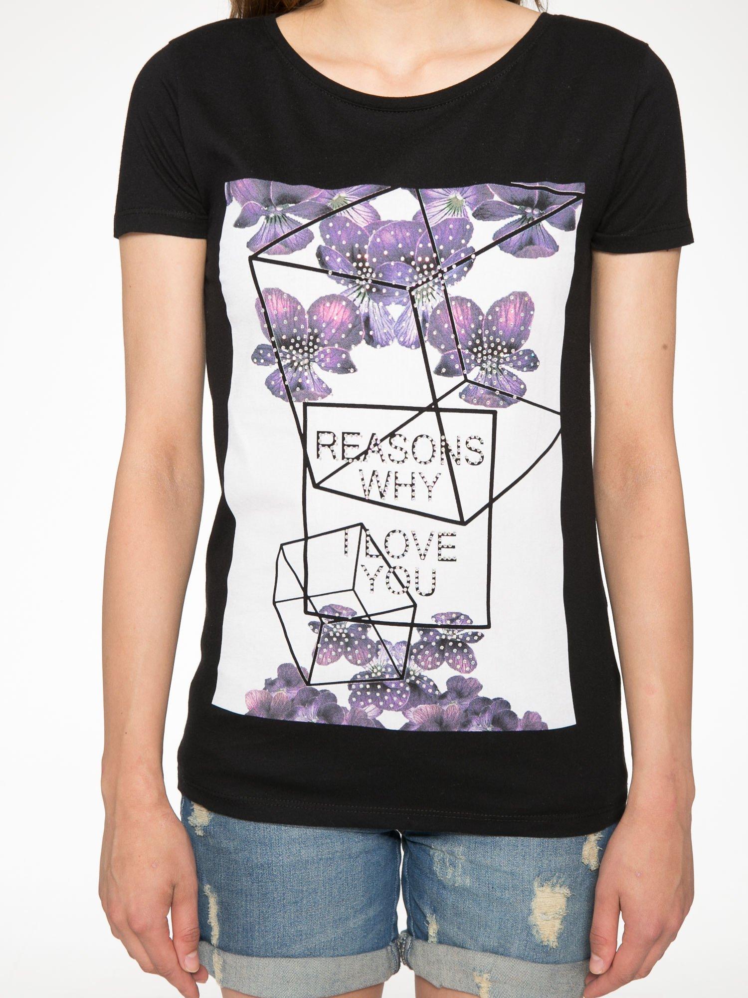 Czarny t-shirt z kwiatowym nadrukiem zdobionym dżetami                                  zdj.                                  7