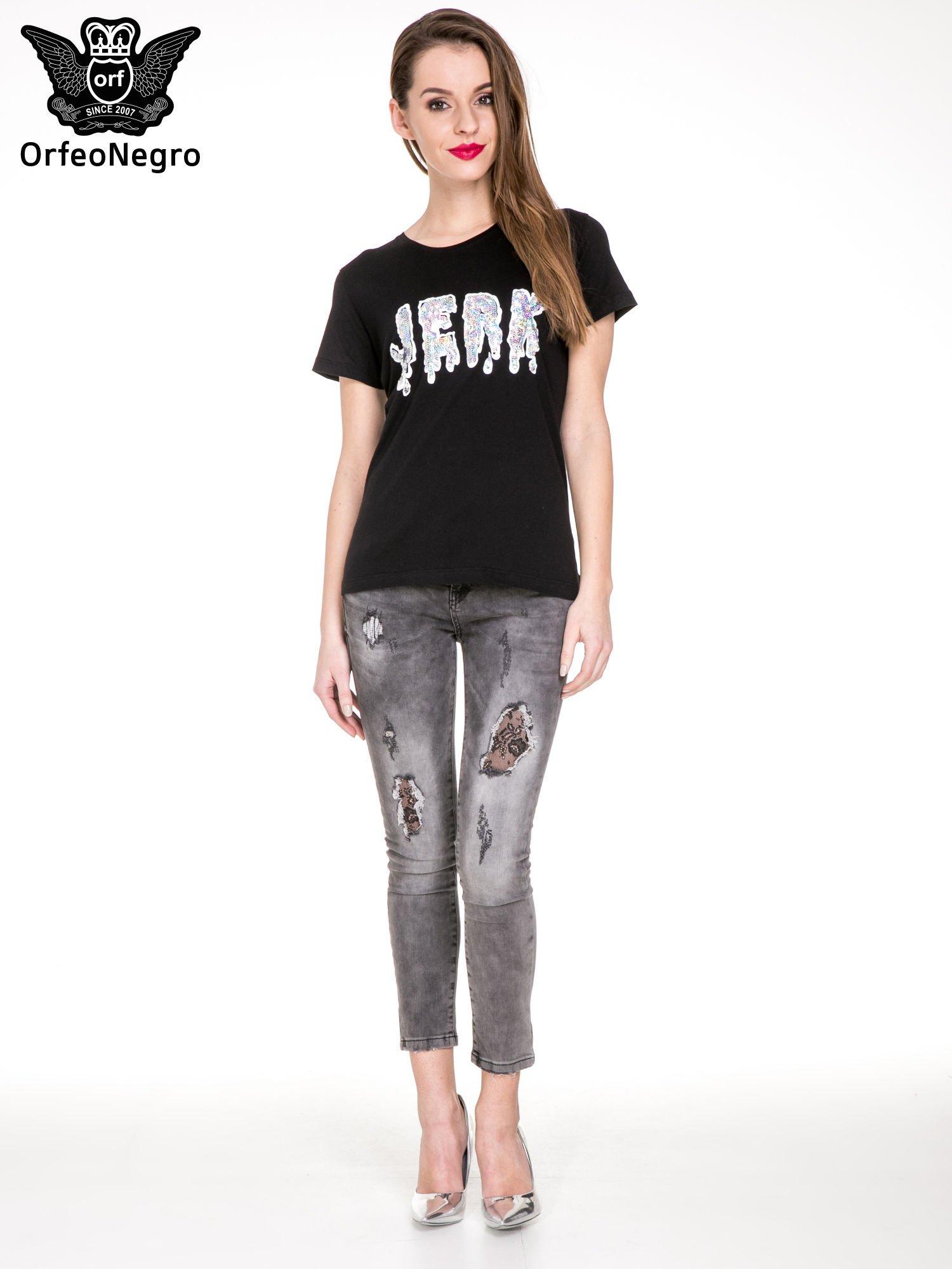 Czarny t-shirt z metalicznym napisem JERK                                  zdj.                                  2