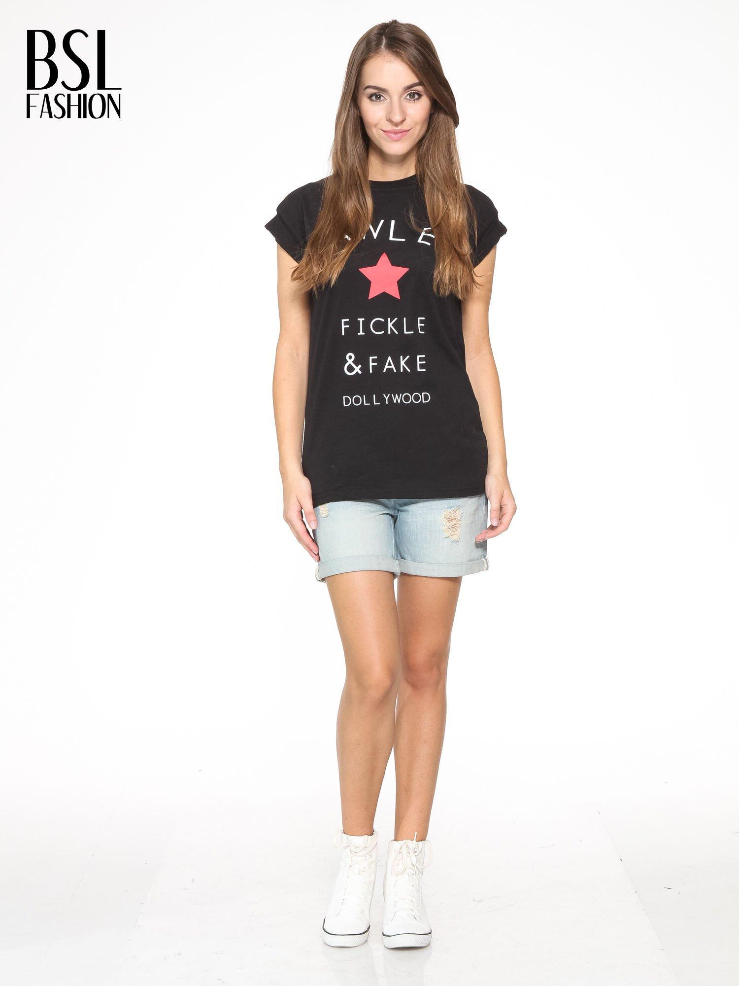 Czarny t-shirt z nadrukiem DOLLYWOOD                                  zdj.                                  5