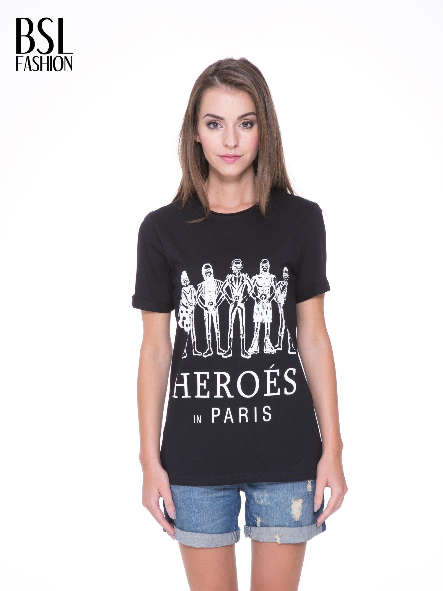 Czarny t-shirt z nadrukiem HEROÉS IN PARIS                                  zdj.                                  1