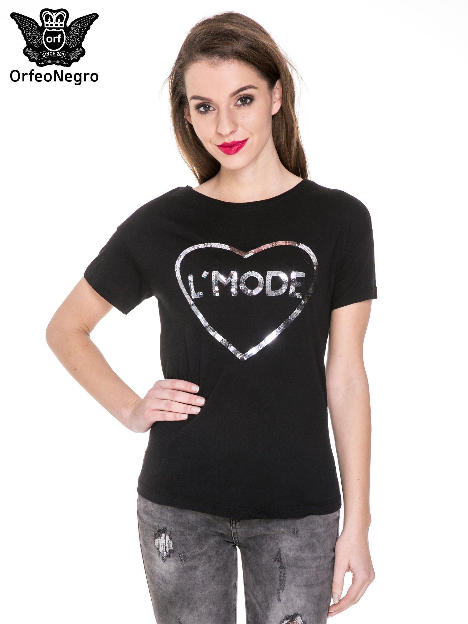 Czarny t-shirt z nadrukiem L'MODE z cekinów                                  zdj.                                  1