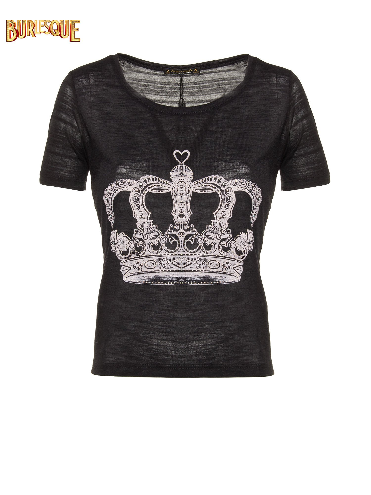 Czarny t-shirt z nadrukiem korony                                  zdj.                                  1