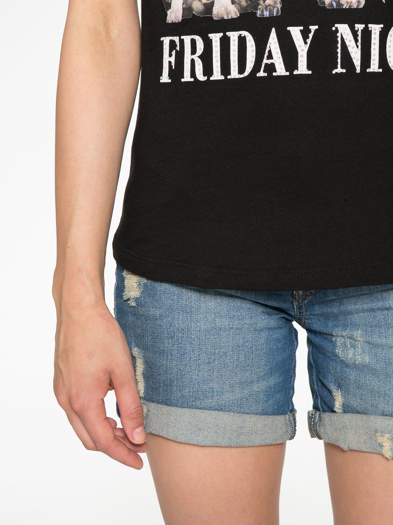 Czarny t-shirt z nadrukiem szczeniąt                                  zdj.                                  7
