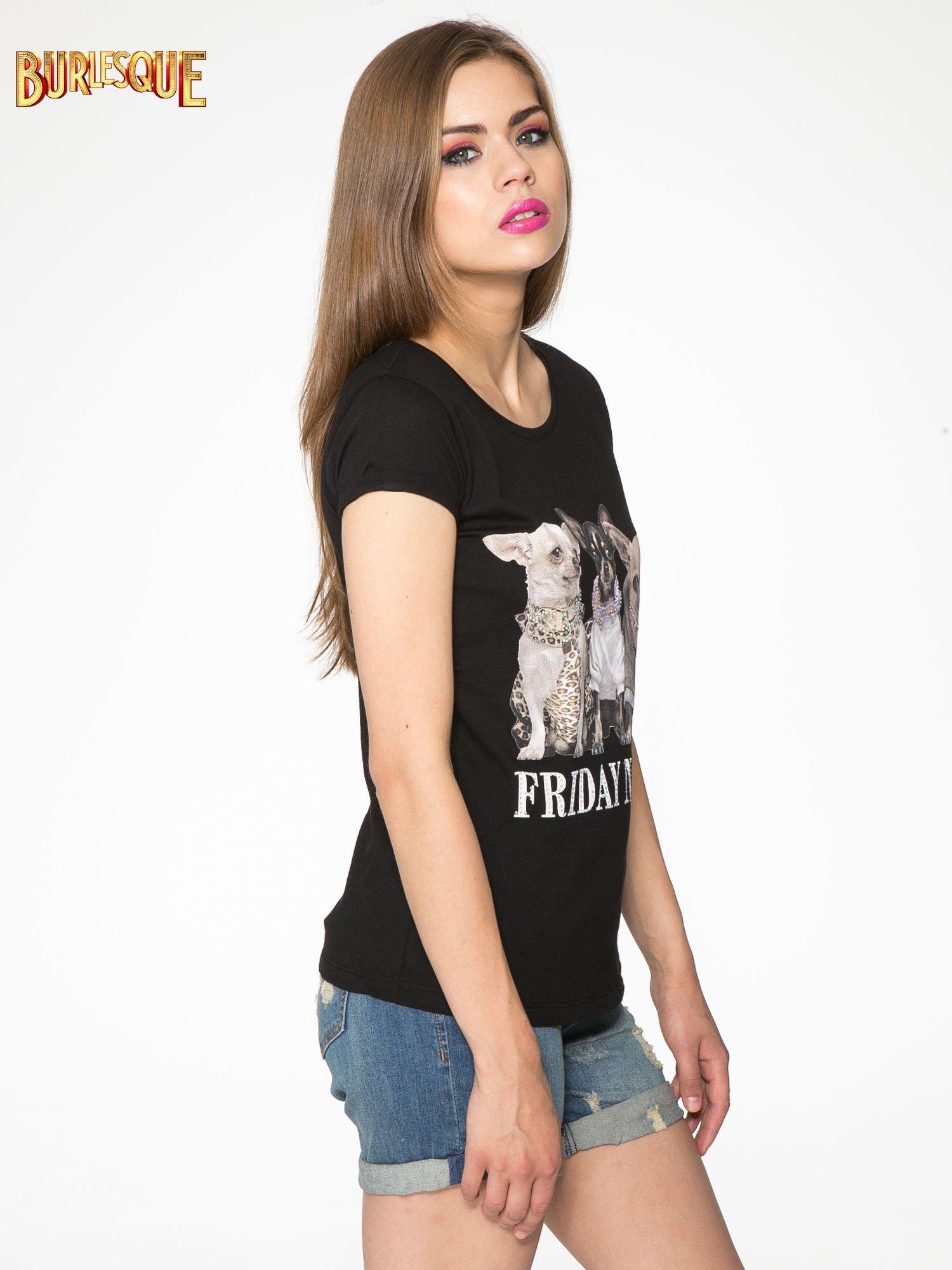 Czarny t-shirt z nadrukiem szczeniąt                                  zdj.                                  3