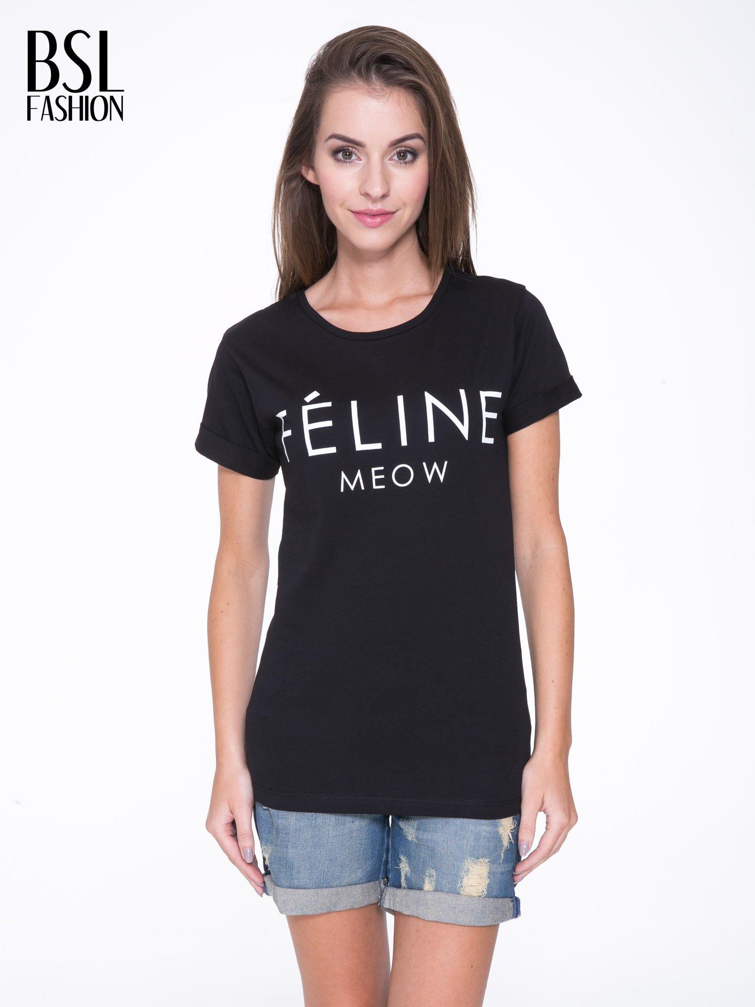 Czarny t-shirt z napisem FÉLINE MEOW                                  zdj.                                  1