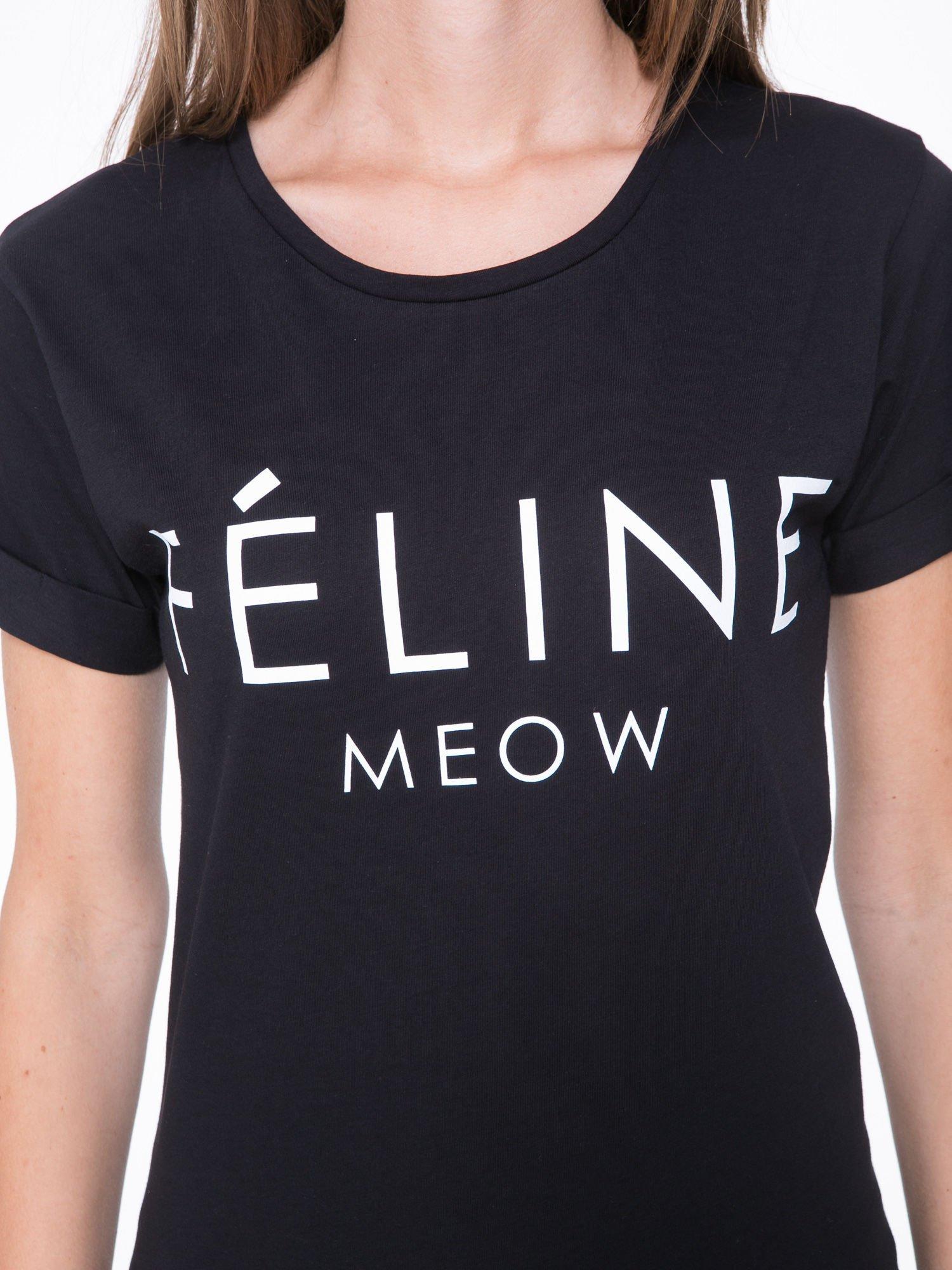 Czarny t-shirt z napisem FÉLINE MEOW                                  zdj.                                  6