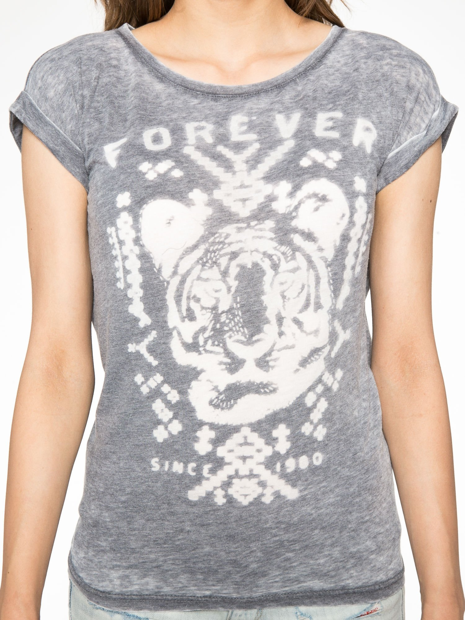 Czarny t-shirt z napisem FOREVER i nadrukiem tygrysa                                  zdj.                                  7