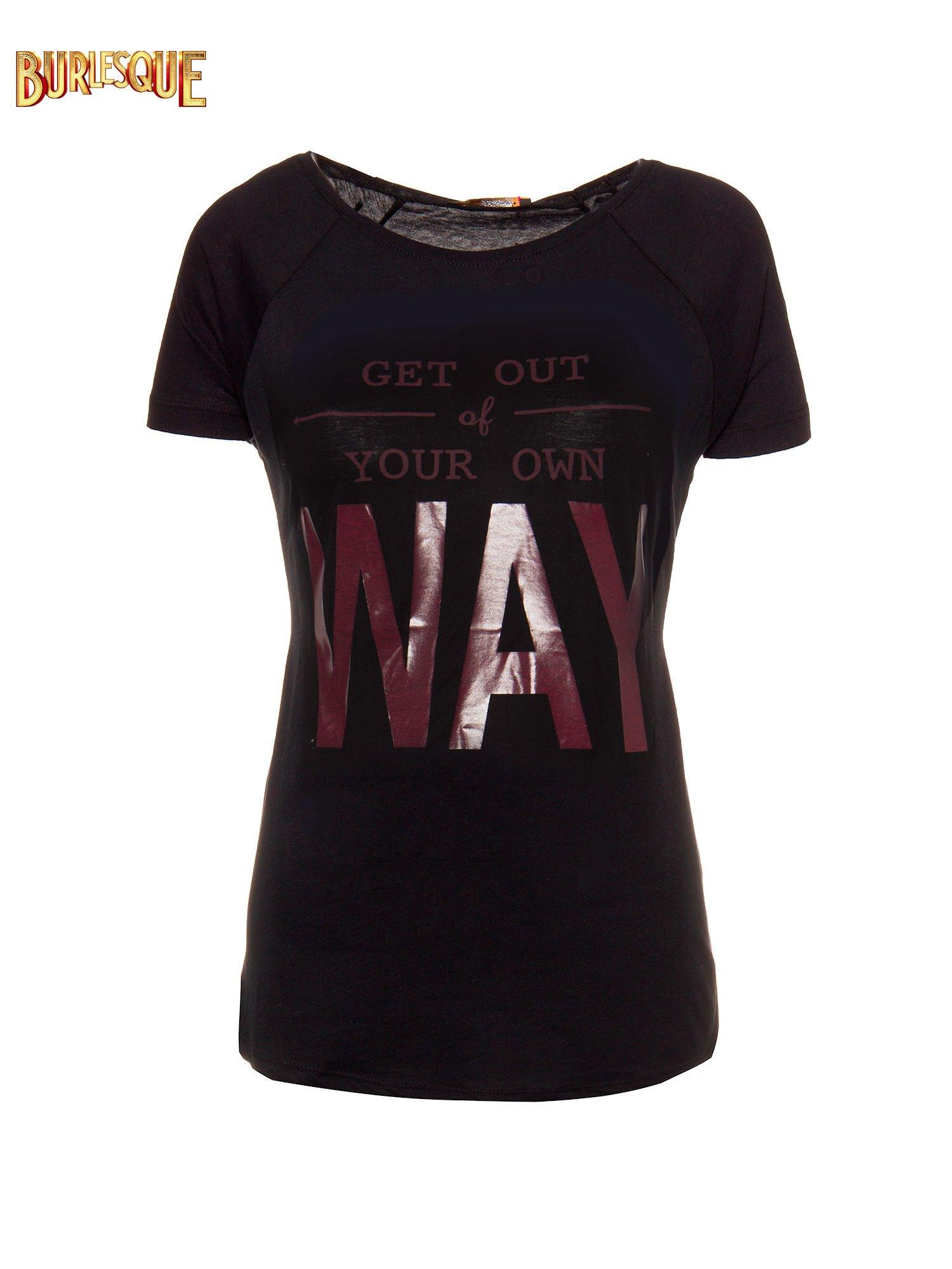 Czarny t-shirt z napisem GET OUT OF YOUR OWN WAY                                  zdj.                                  1