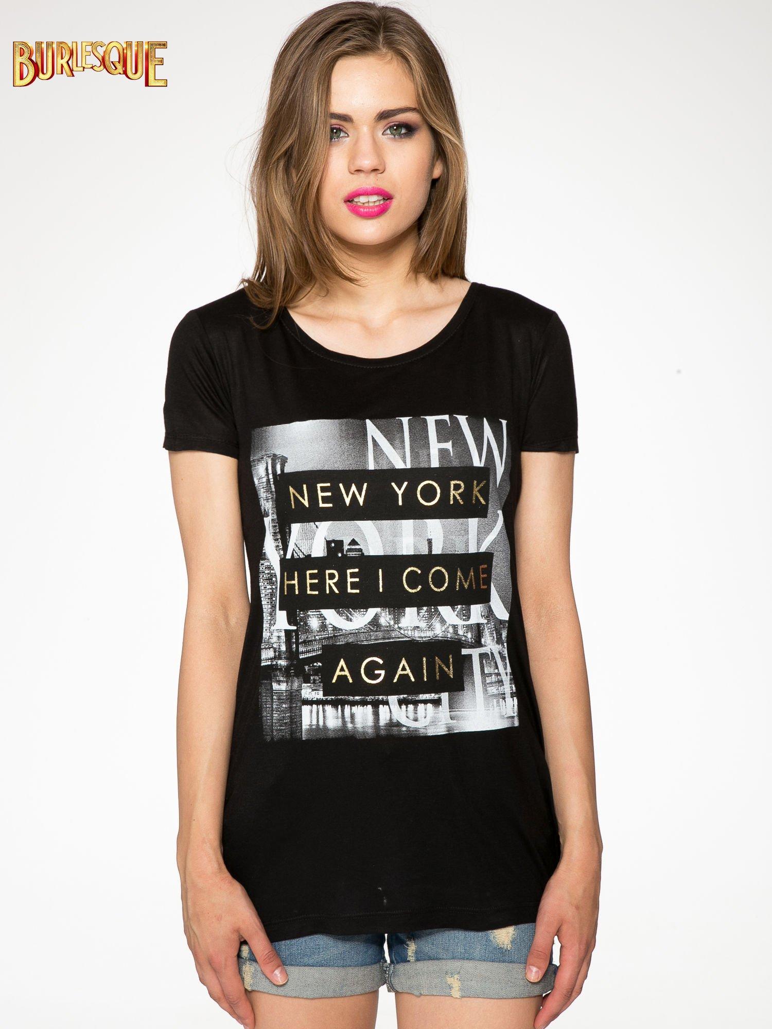 Czarny t-shirt ze złotym napisem NEW YORK HERE I COME AGAIN                                  zdj.                                  10