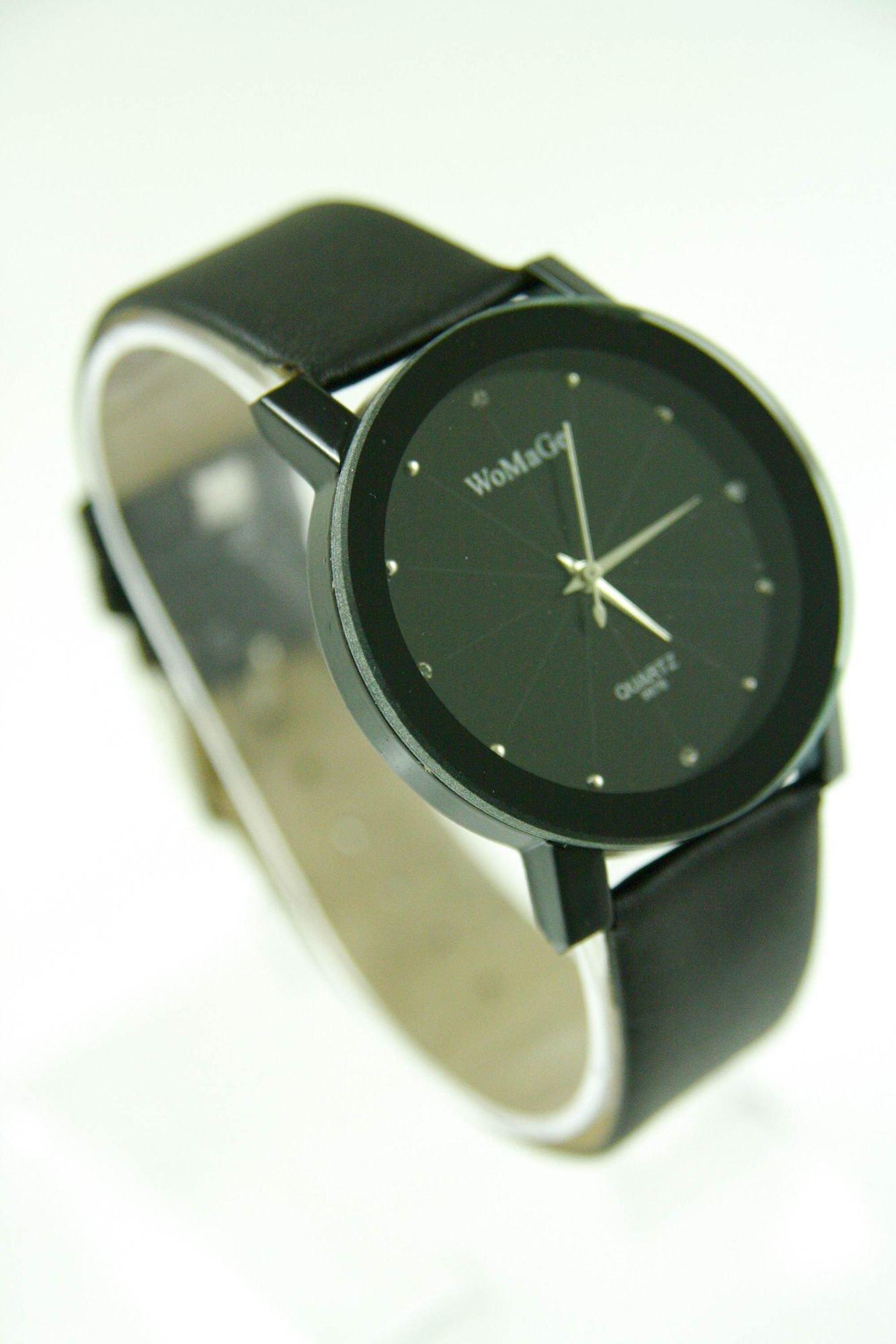 Czarny zegarek damski z cyrkoniami na skórzanym pasku                                  zdj.                                  3