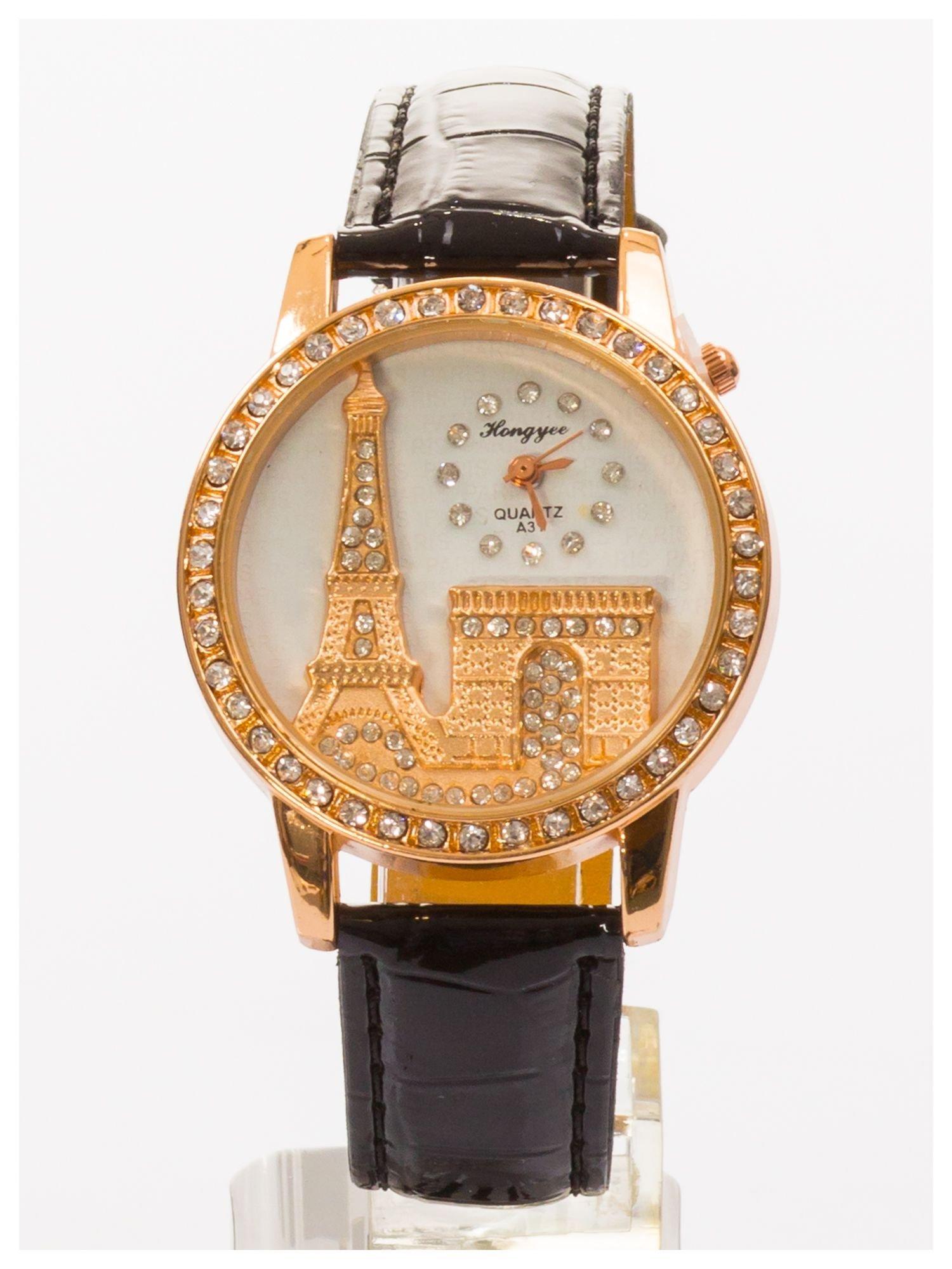 Czarny zegarek damski z cyrkoniami na skórzanym pasku                                  zdj.                                  2