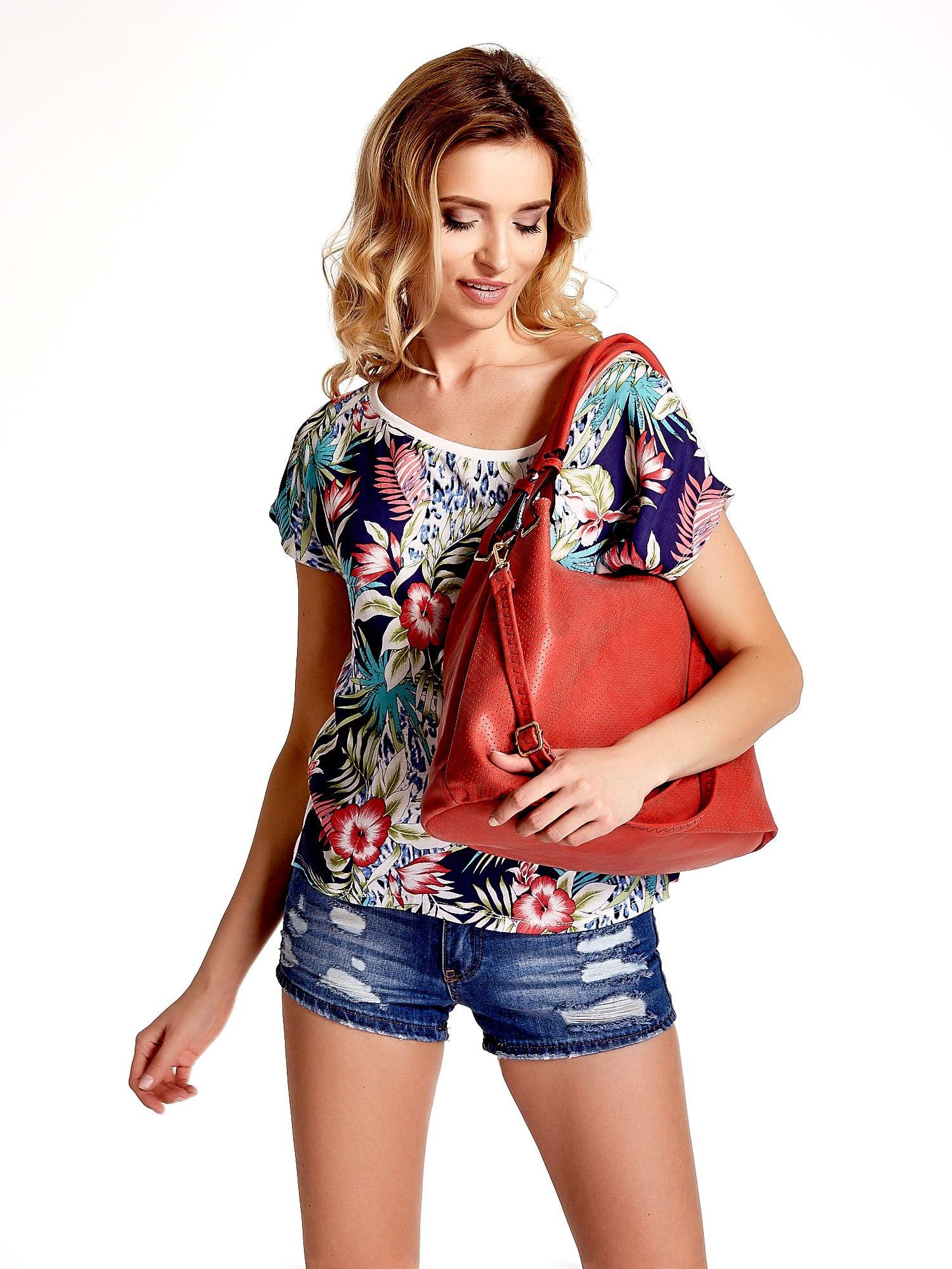 Czerwona ażurowa torba na ramię                                  zdj.                                  6