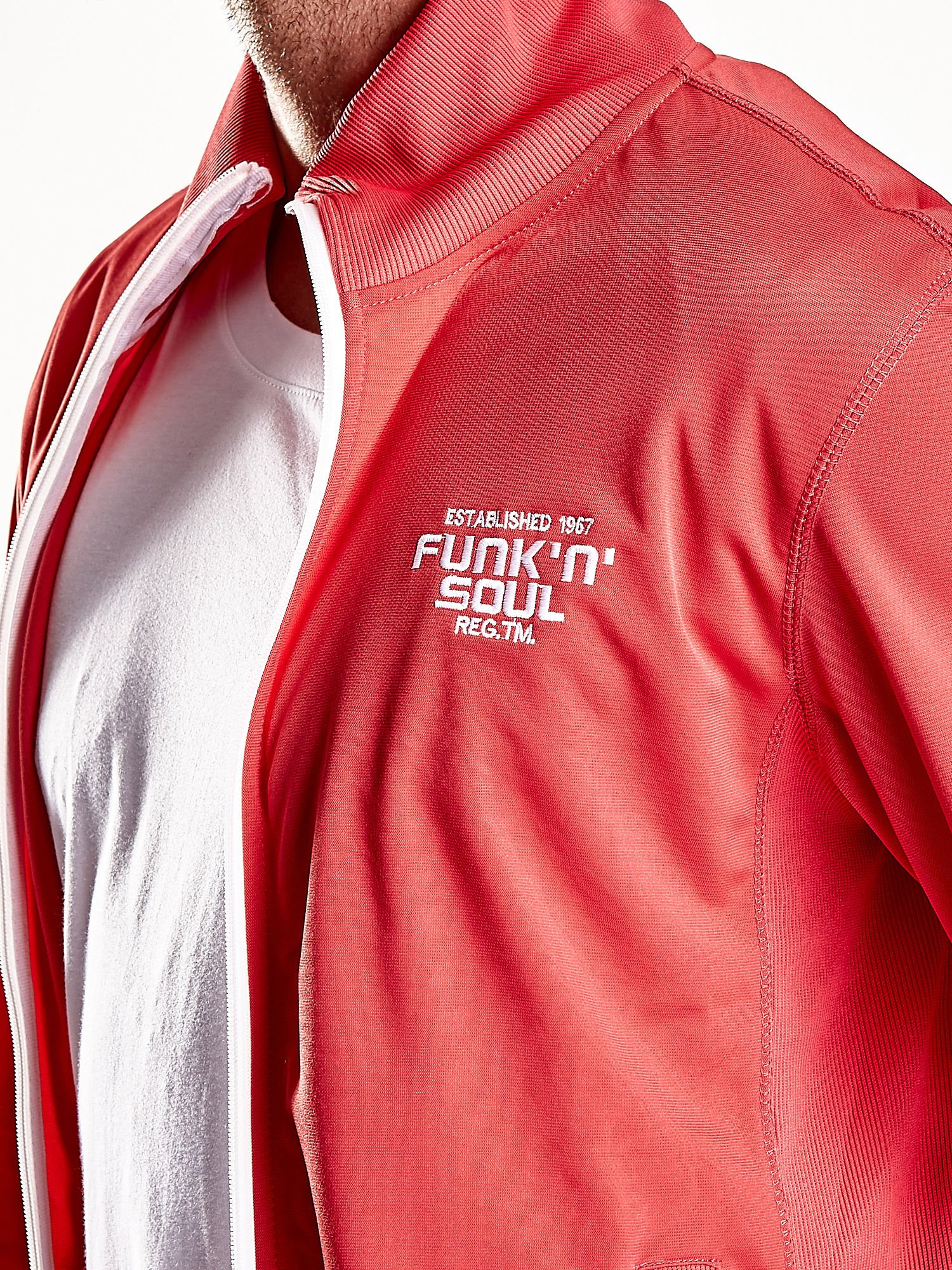 Czerwona bluza męska na suwak Funk n Soul                                  zdj.                                  13