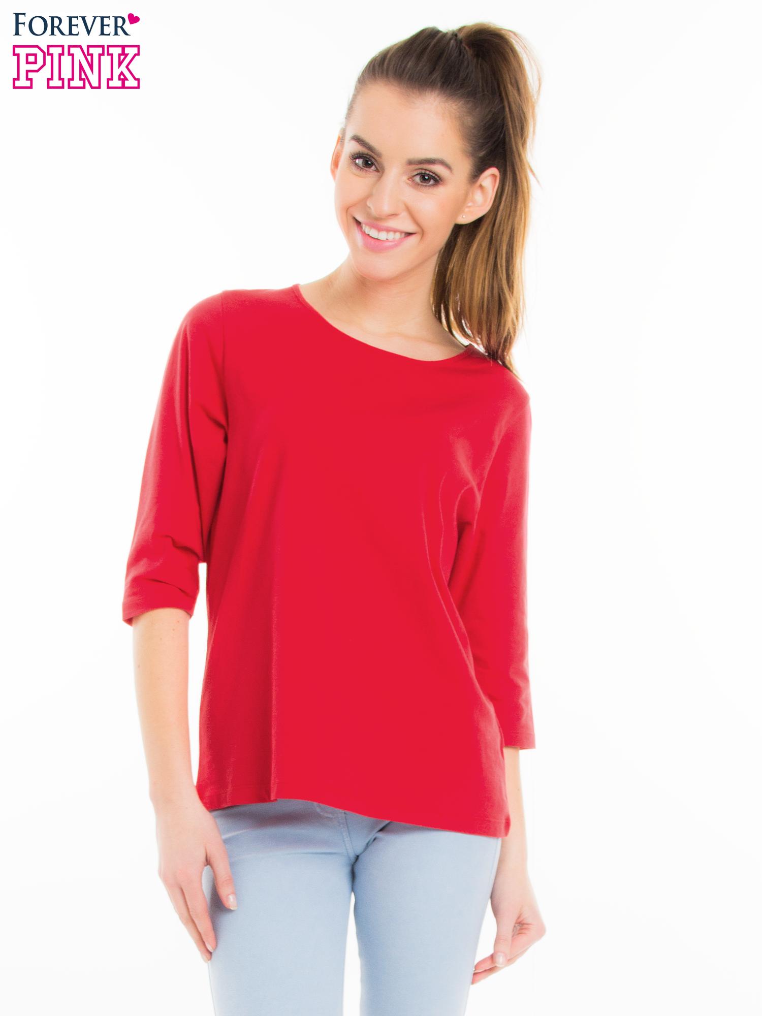 Czerwona bluzka basic z rękawem 3/4                                  zdj.                                  1