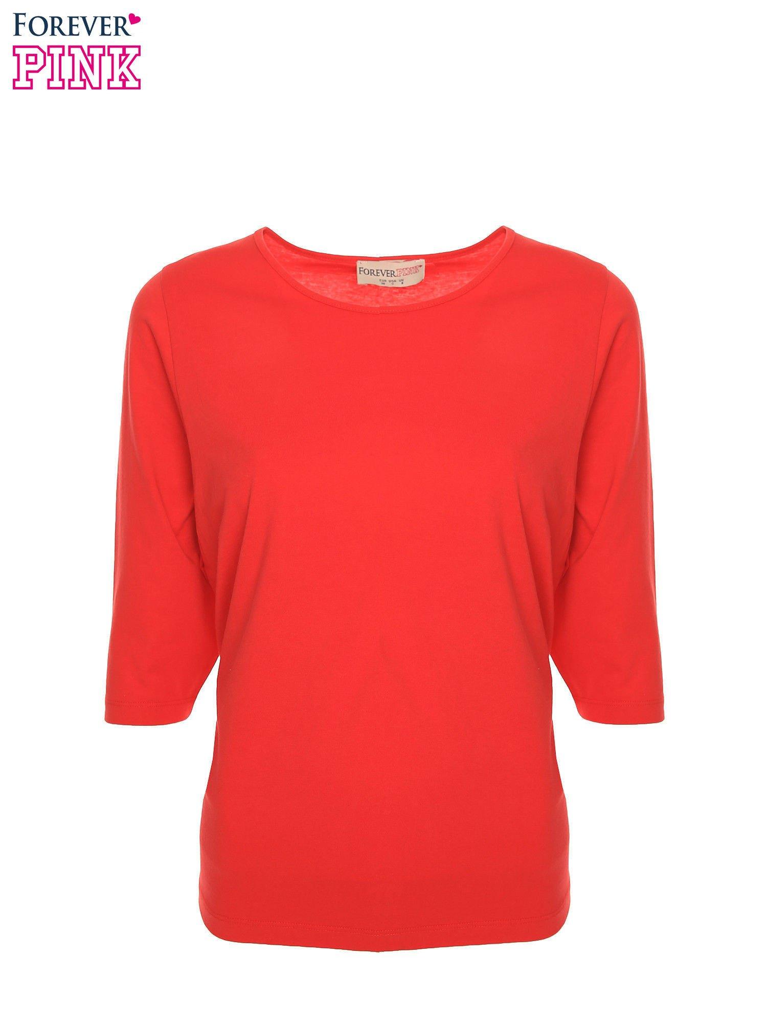 Czerwona bluzka basic z rękawem 3/4                                  zdj.                                  2