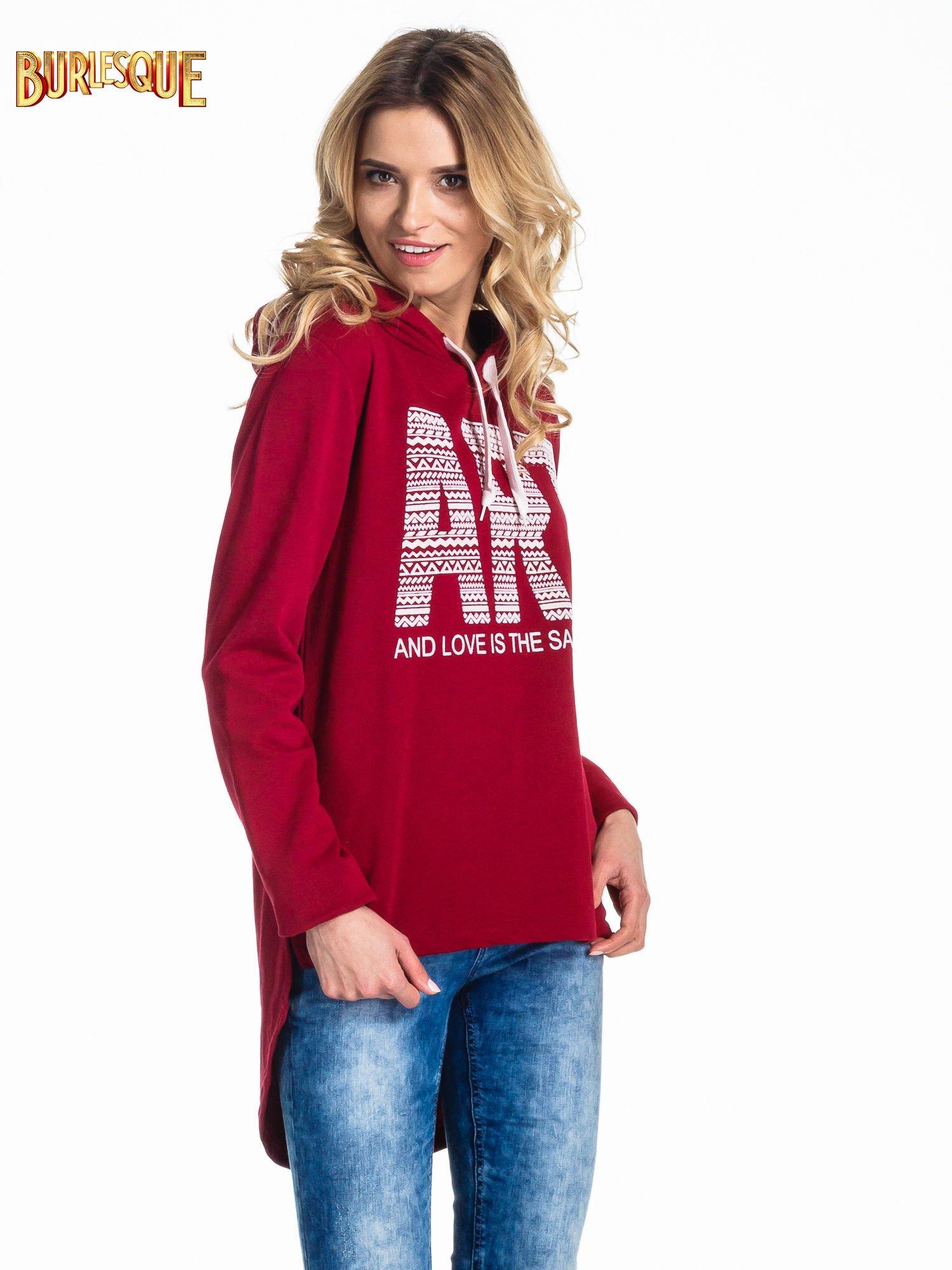 Czerwona damska bluza z kapturem i napisem ART                                  zdj.                                  3