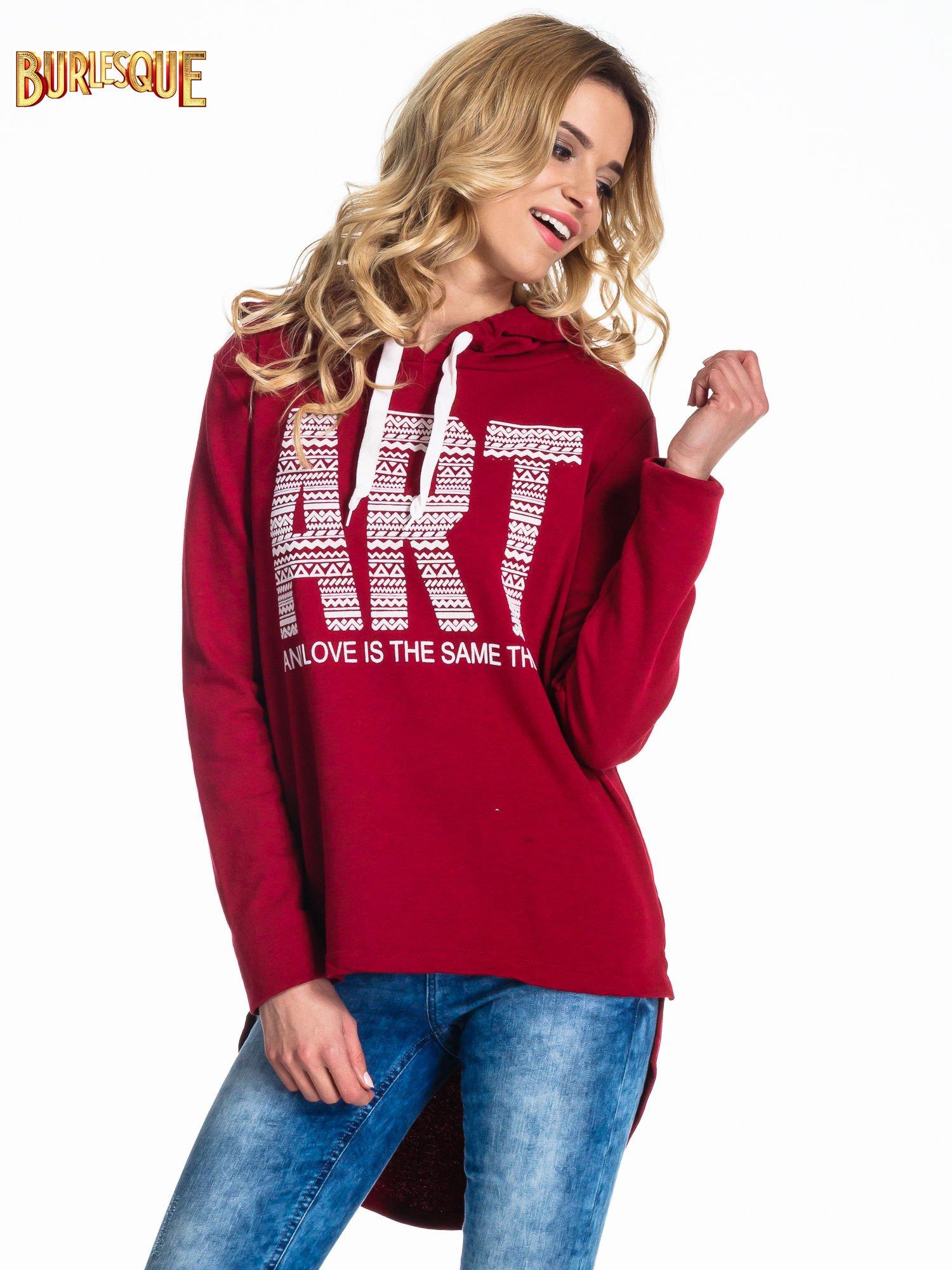 Czerwona damska bluza z kapturem i napisem ART                                  zdj.                                  1
