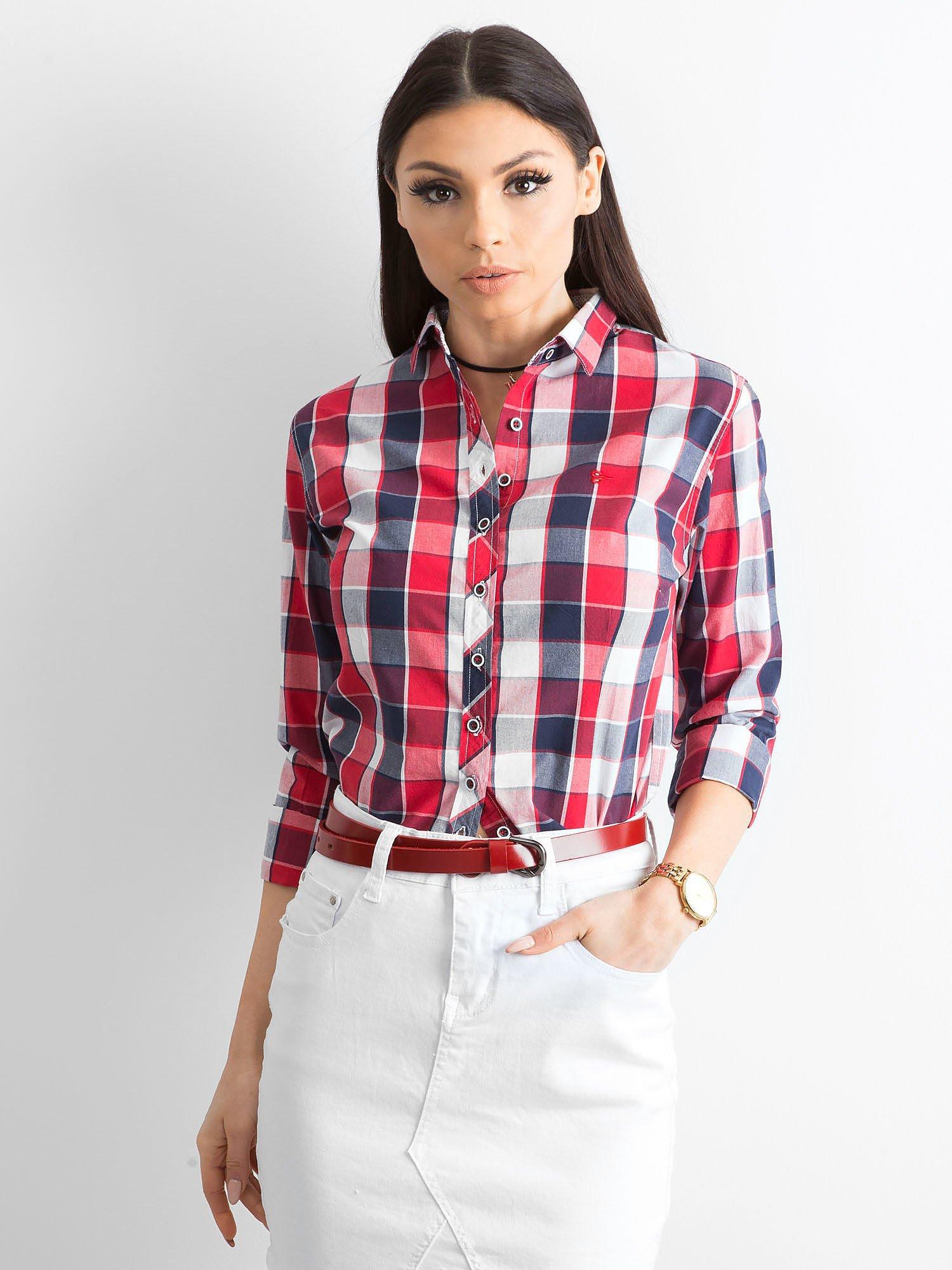 59654691f55afc Czerwona koszula damska w kratę - Koszula w kratę - sklep eButik.pl