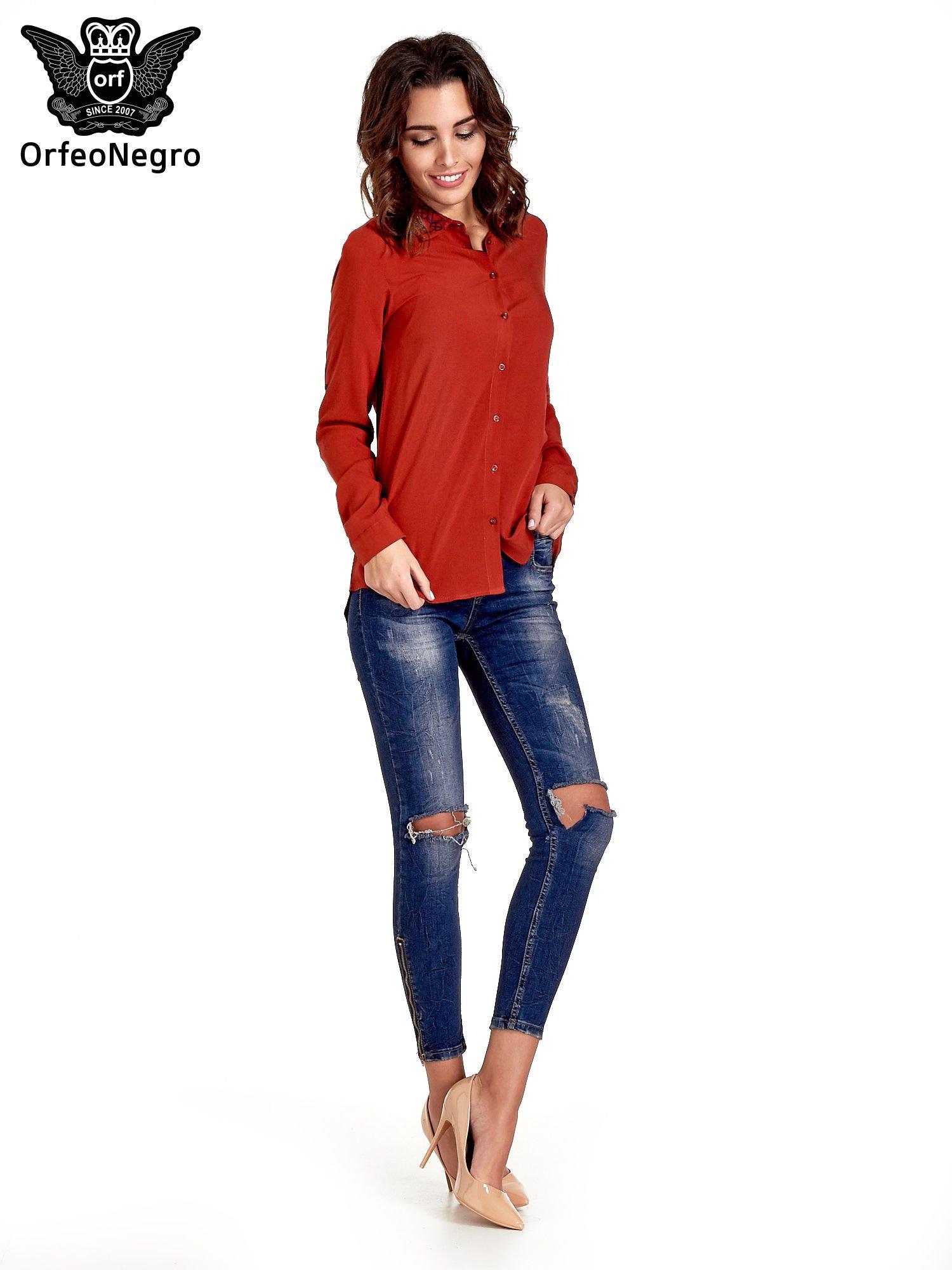 Czerwona koszula z haftowanym kołnierzykiem                                  zdj.                                  2