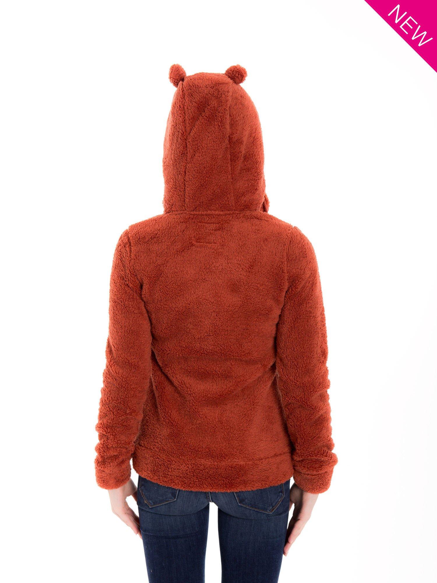 Czerwona pluszowa bluza z kapturem z uszkami i pomponami                                  zdj.                                  6