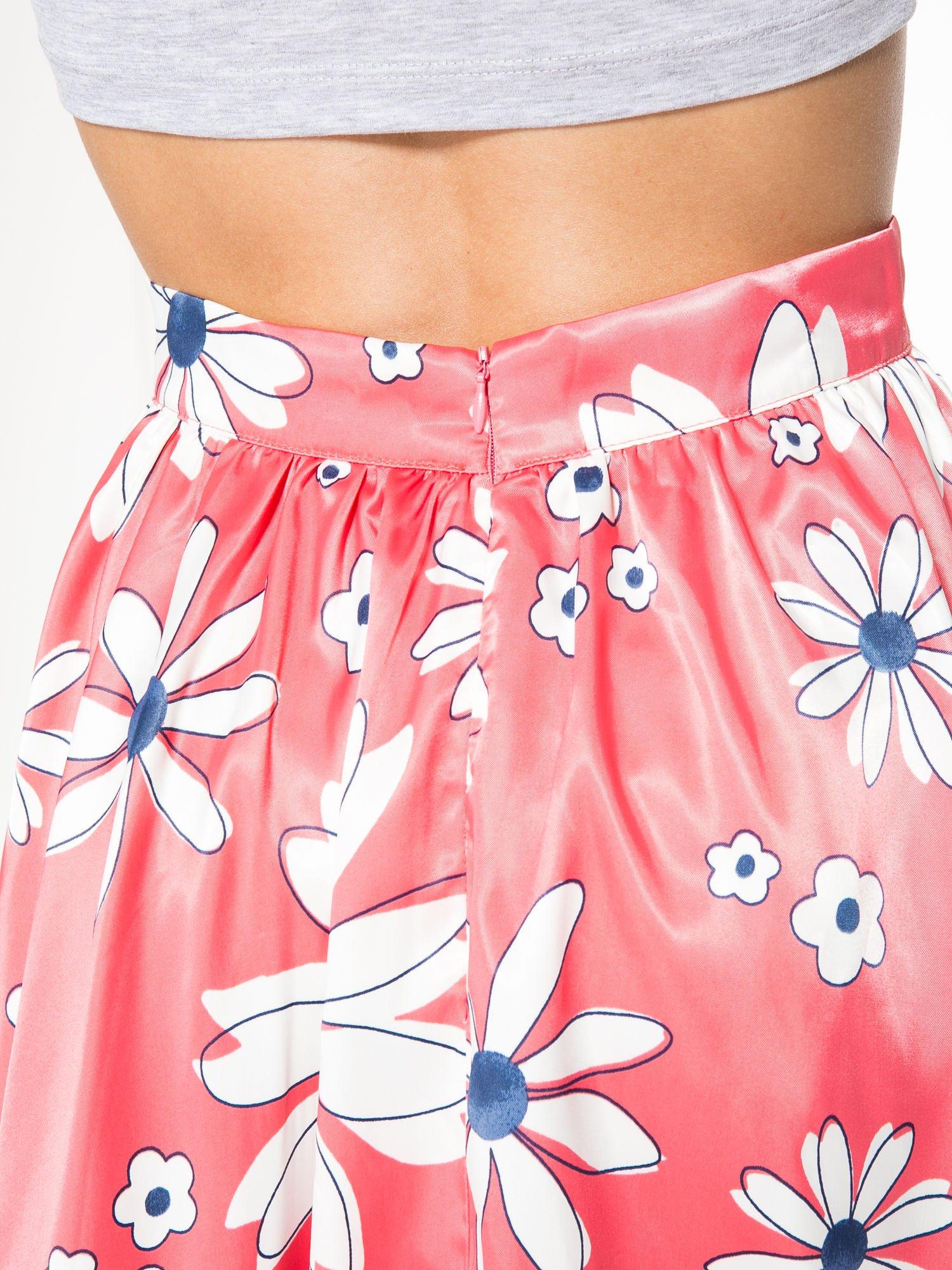 Czerwona rozkloszowana spódnica skater w kwiaty                                  zdj.                                  6