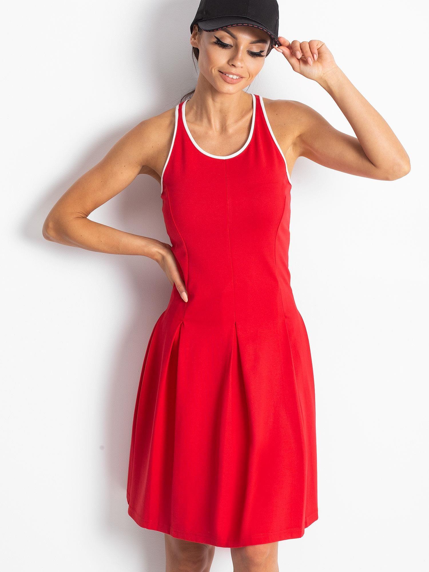 Czerwona rozkloszowana sukienka z dekoltem typu bokserka                                  zdj.                                  11