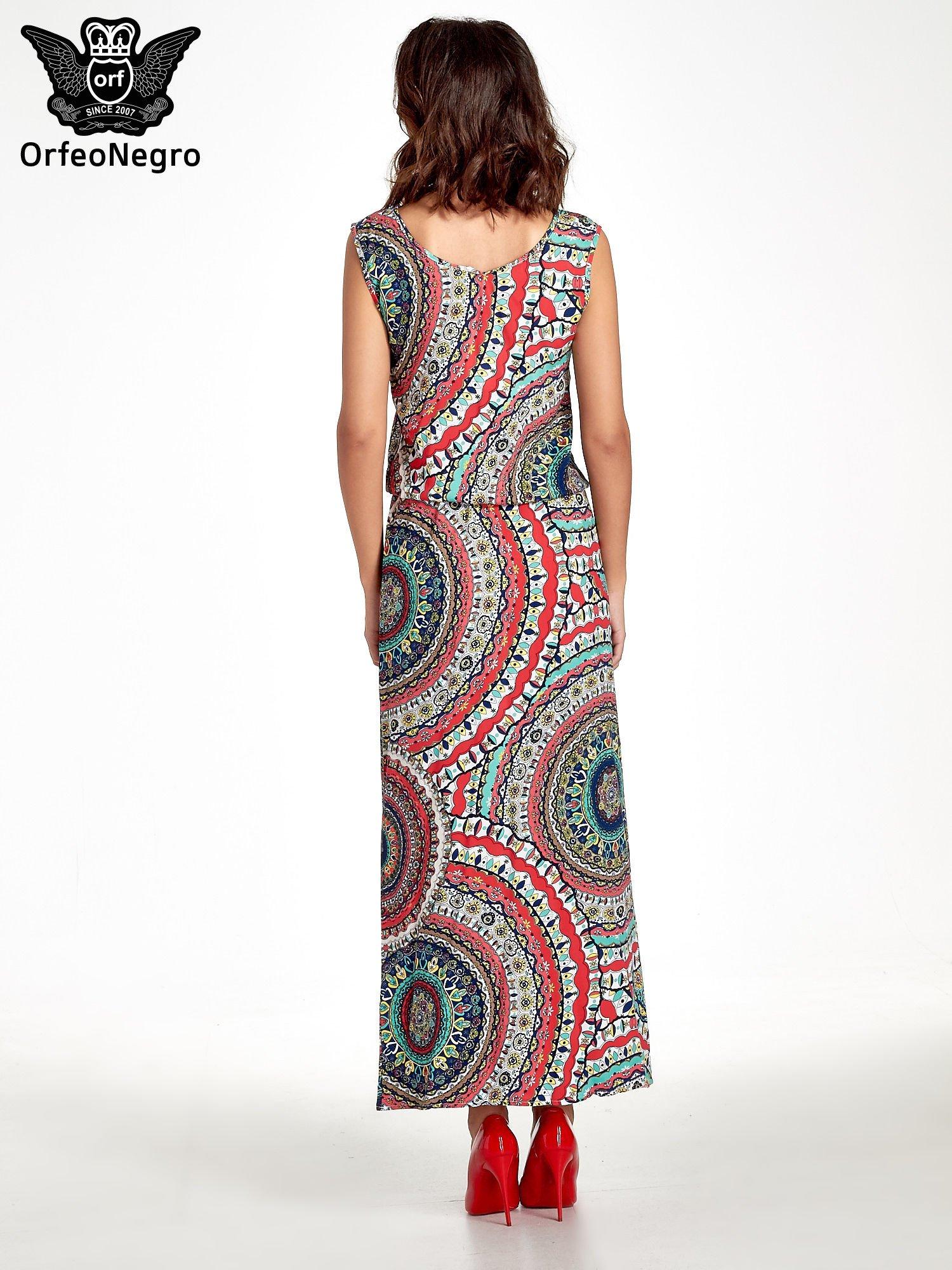 Czerwona sukienka maxi w etniczne wzory                                  zdj.                                  2