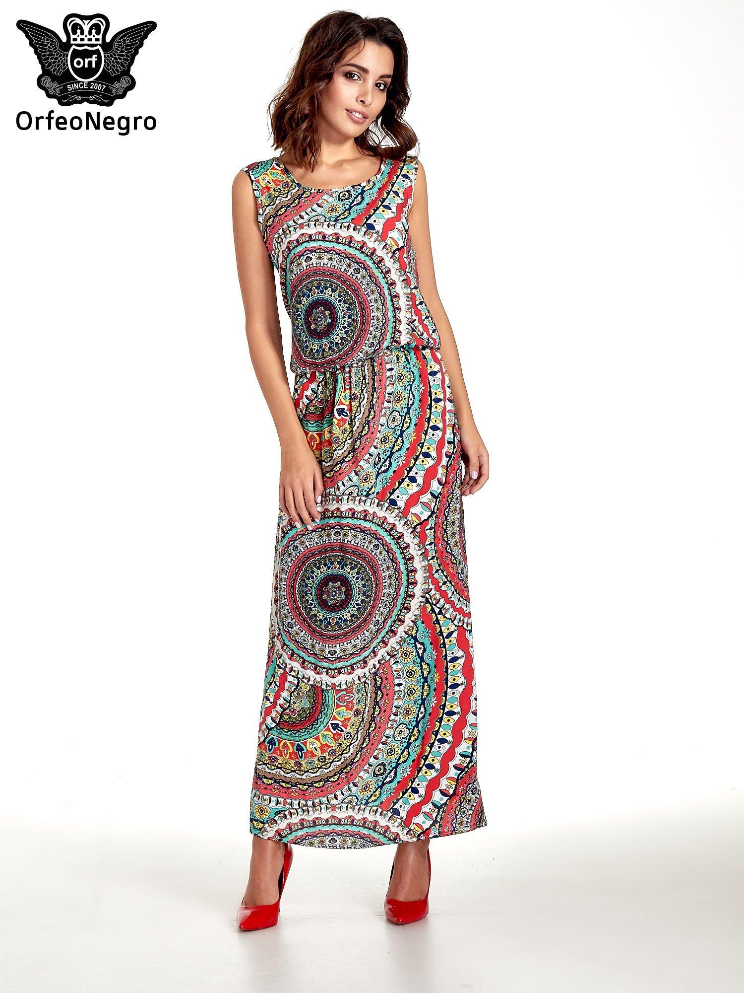 Czerwona sukienka maxi w etniczne wzory                                  zdj.                                  1