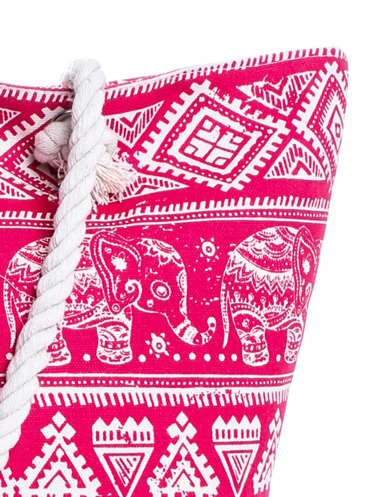 Czerwona torba plażowa w indyjskie wzory                                  zdj.                                  6