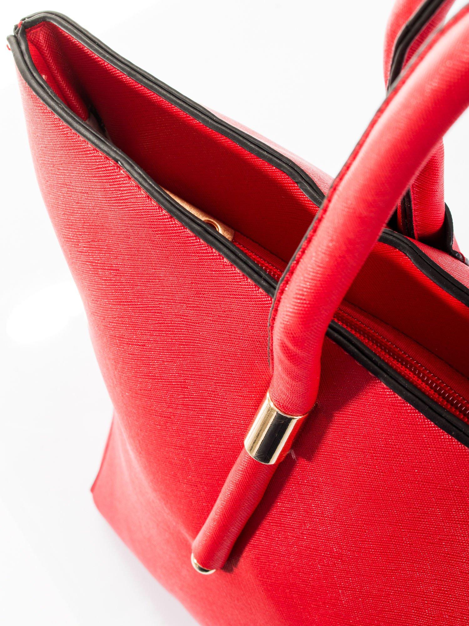 Czerwona torba shopper efekt saffiano                                  zdj.                                  8