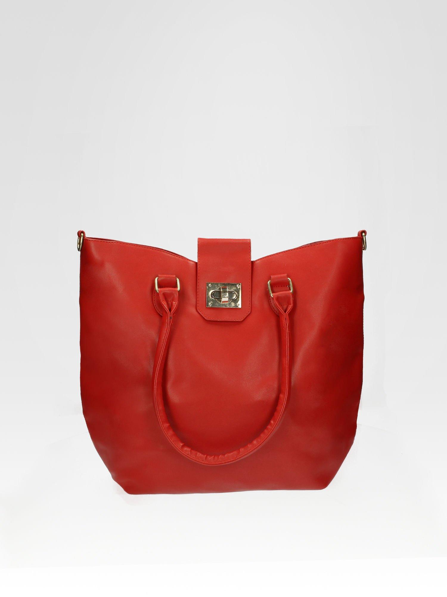 Czerwona torebka city bag z zatrzaskiem                                  zdj.                                  1