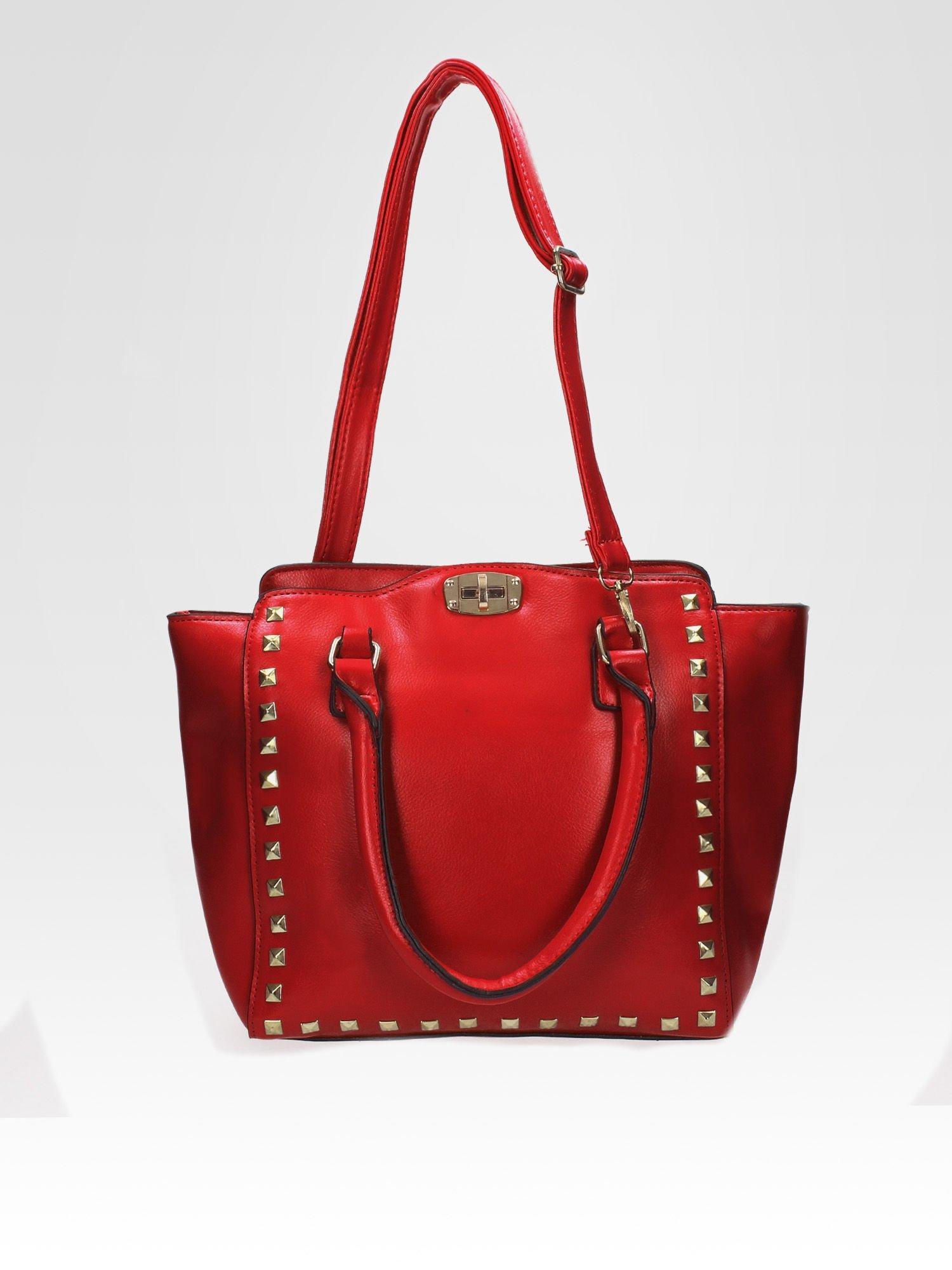 Czerwona torebka na ramię z dżetami                                  zdj.                                  4