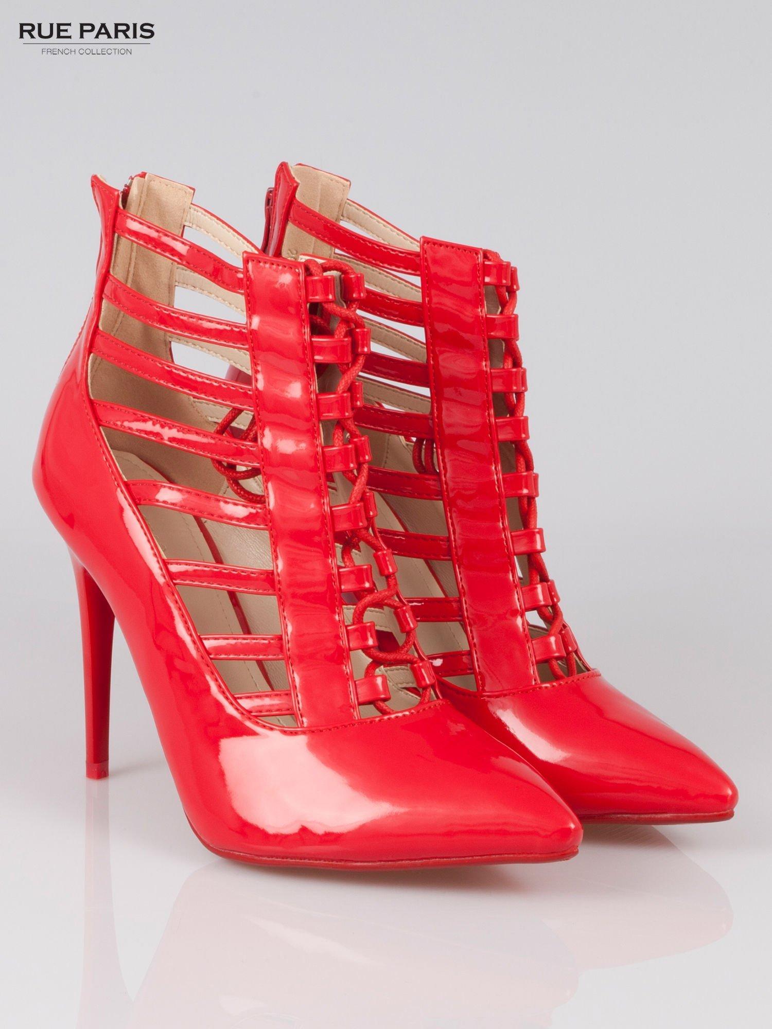 Czerwone lakierowane botki lace up Ibiza                                  zdj.                                  2