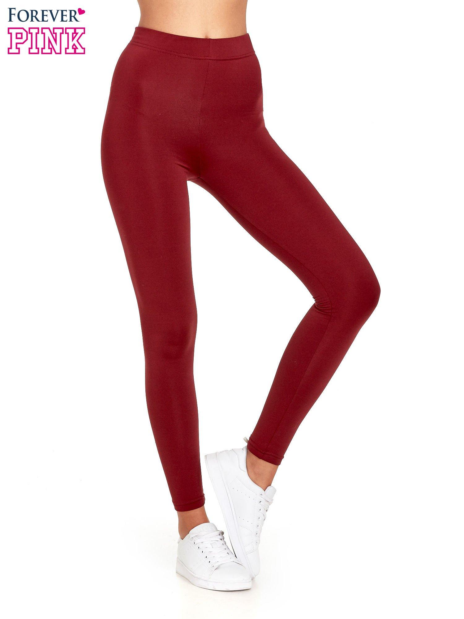 Czerwone legginsy basic z lekkim ociepleniem                                  zdj.                                  1