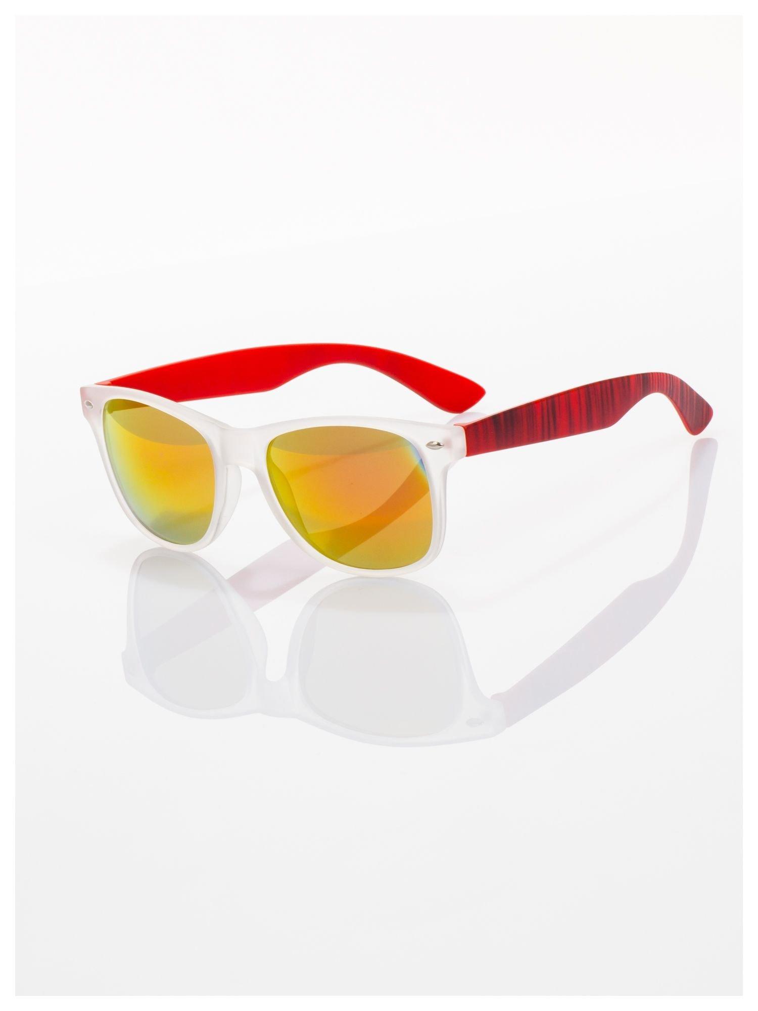 Czerwone  lustrzanki z filtrami UV okulary z klasyczną oprawką WAYFARER NERD z efektem mlecznej szyby -odporne na wyginania                                  zdj.                                  1