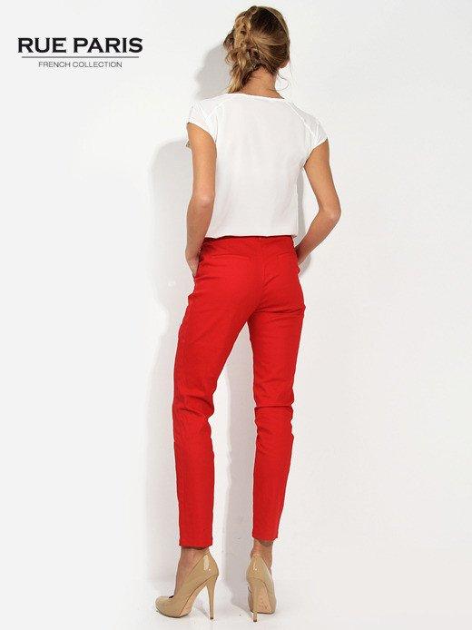 Czerwone spodnie cygaretki z kieszeniami                                  zdj.                                  2