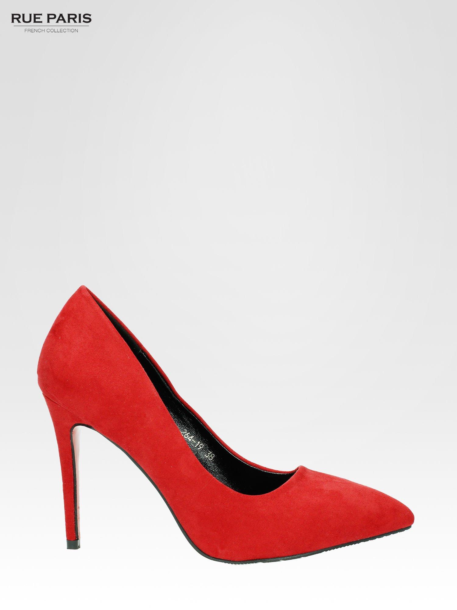 Czerwone szpilki w szpic z zamszu faux suede                                  zdj.                                  1